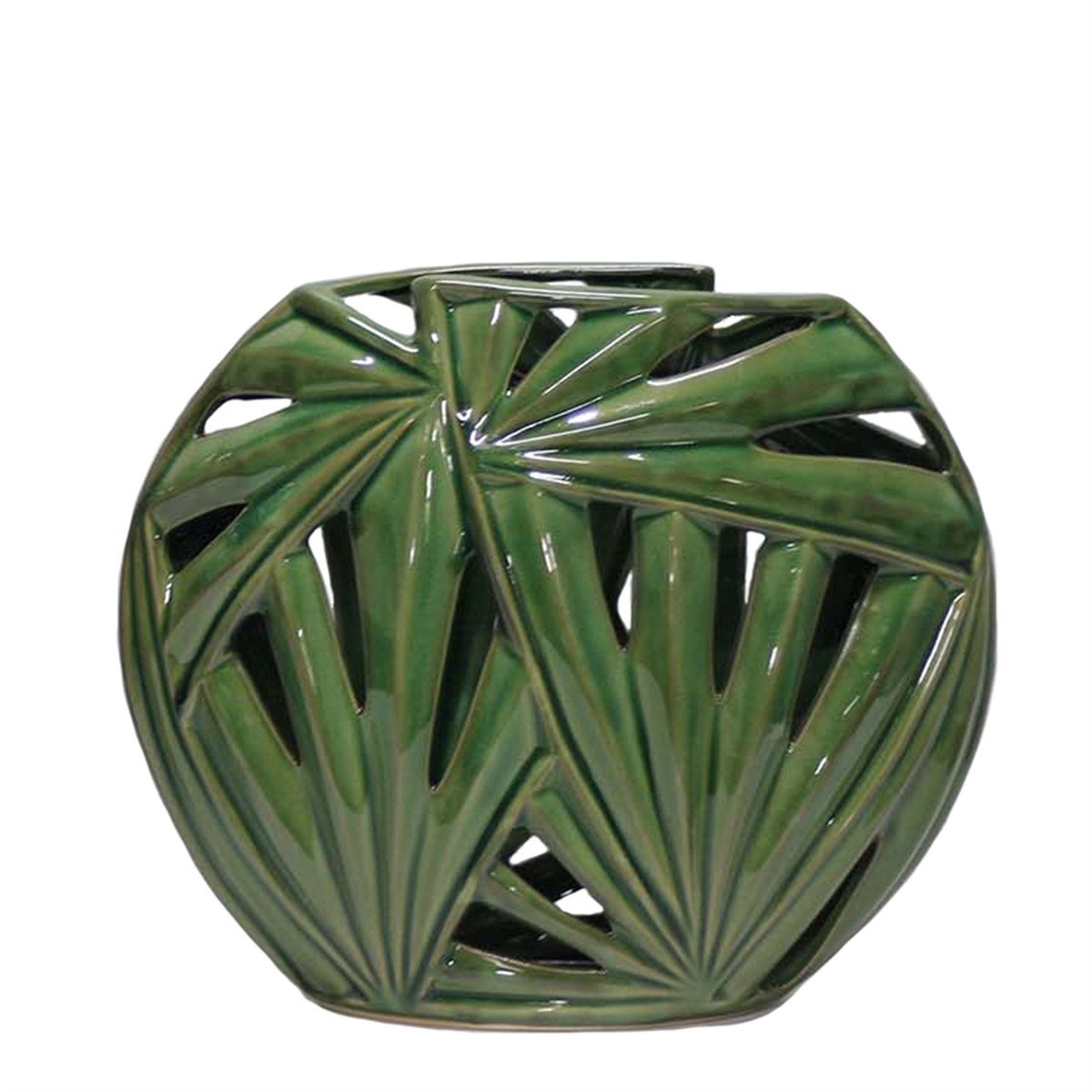 10.5 cylinder vase of green palm leaf vase 10 5 sagebrook home with 13660 02 13660 02