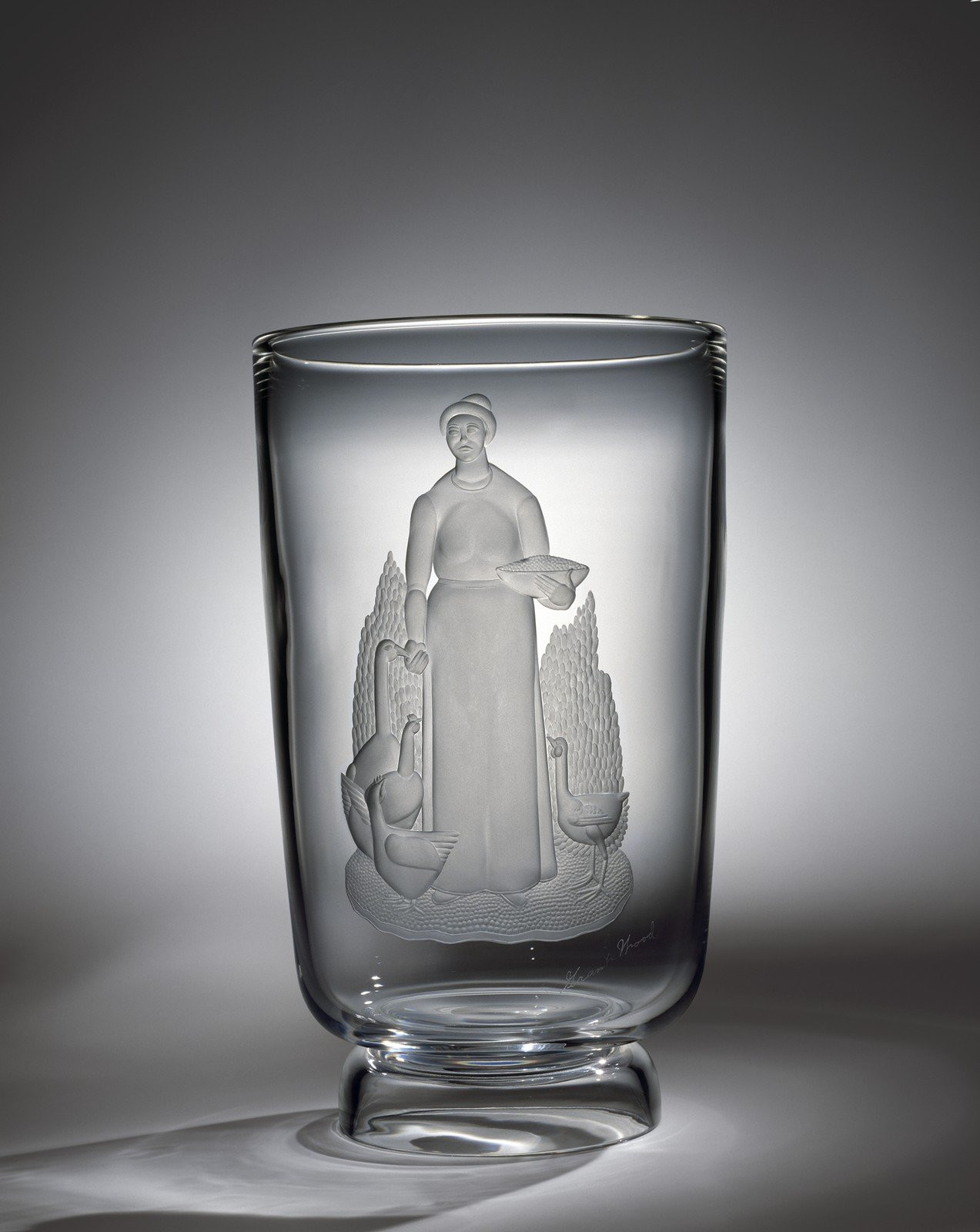 16 cylinder vase of collection search corning museum of glass in vase with woman tending a goose and chickens
