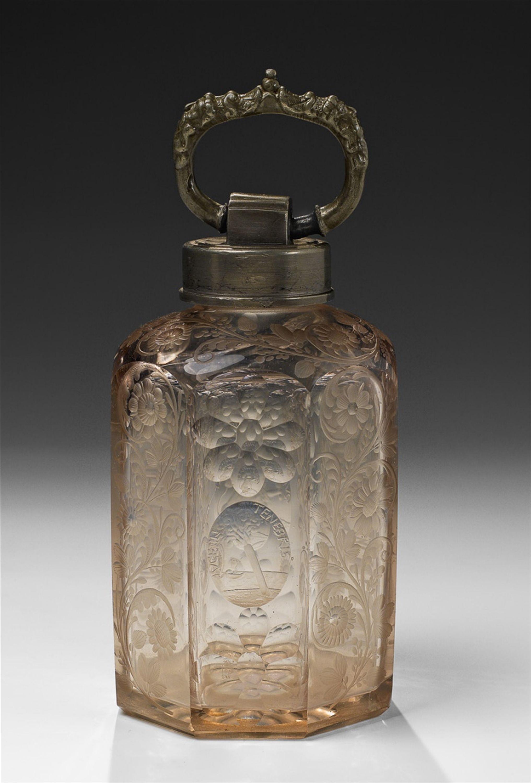 16 glass vase of bohemia engraved glass bottle early 18th c h 168 cm glass inside bohemia engraved glass bottle early 18th c h 168 cm
