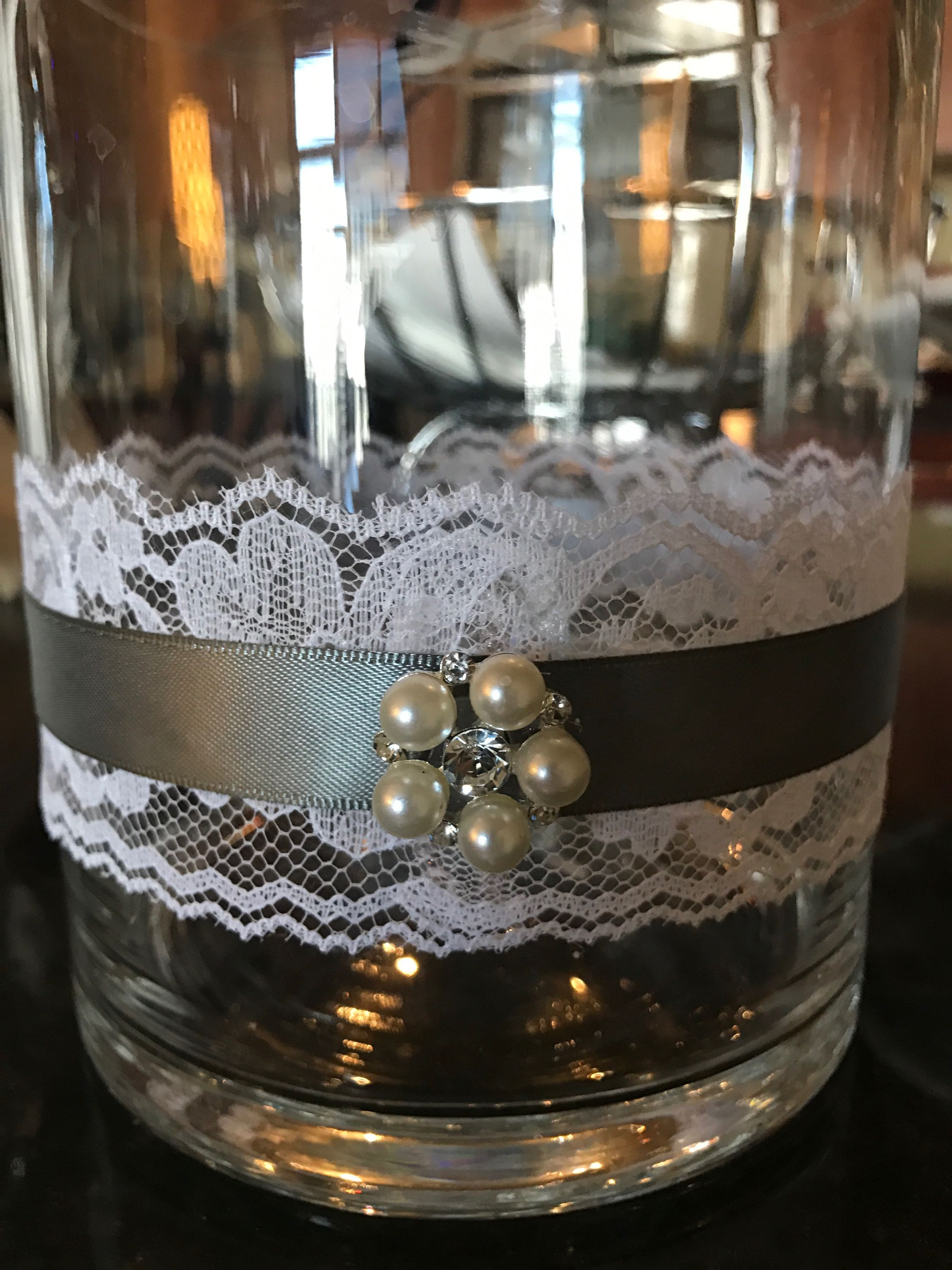 16 inch vase centerpieces of lace grey ribbon pearls and crystal vase for wedding centerpiece pertaining to lace grey ribbon pearls and crystal vase for wedding centerpiece