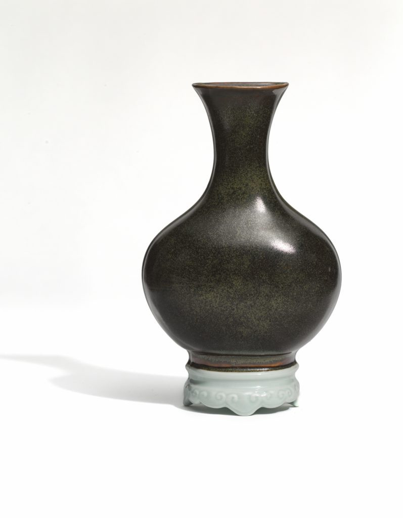 17th century chinese vase of fall exhibitions tefaf new york fall asian art in london in a black glazed trompe loeil wall vase with faux ivory celadon stand decorated with ruyi qianlong period 18th century dimensions 25cm high