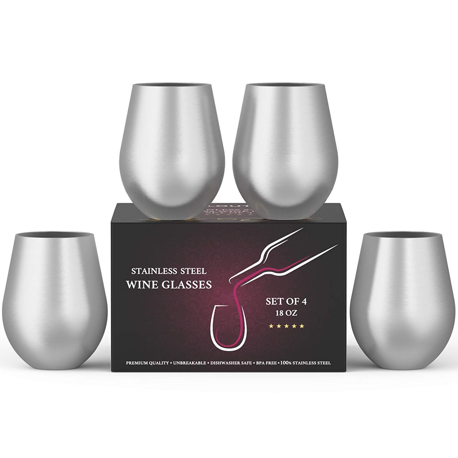 18 inch crystal vase of amazon com stainless steel wine stemless glasses set of 4 18 oz with regard to amazon com stainless steel wine stemless glasses set of 4 18 oz metal wine glasses 4 pack unbreakable dishwasher safe bpa free great for indoor