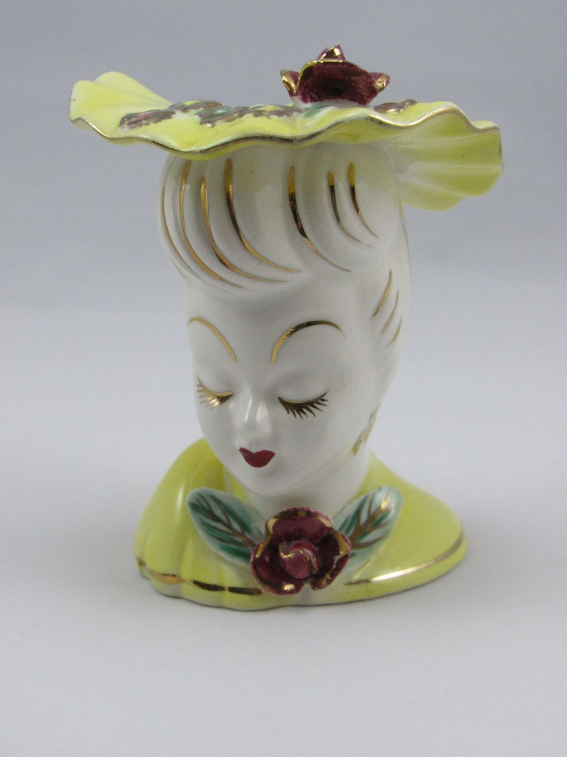 1958 napco lady head vase of vintage mid century glamour girl lady head vase with yellow hat and intended for vintage mid century glamour girl lady head vase with yellow hat and dress dress with flowers and gold trim the 1950s head vase is 4 tall by