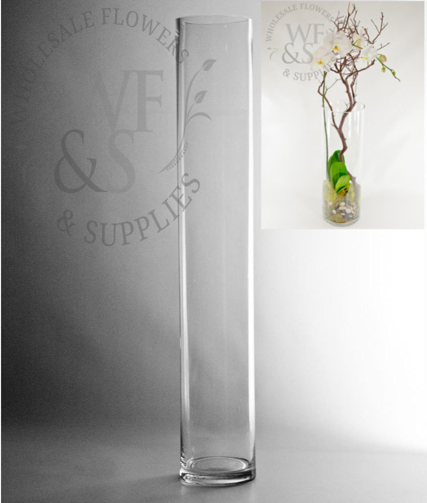 20 Inch Square Vase Of Glass Cylinder Vases wholesale Flowers Supplies Throughout 24x4 Glass Cylinder Vase