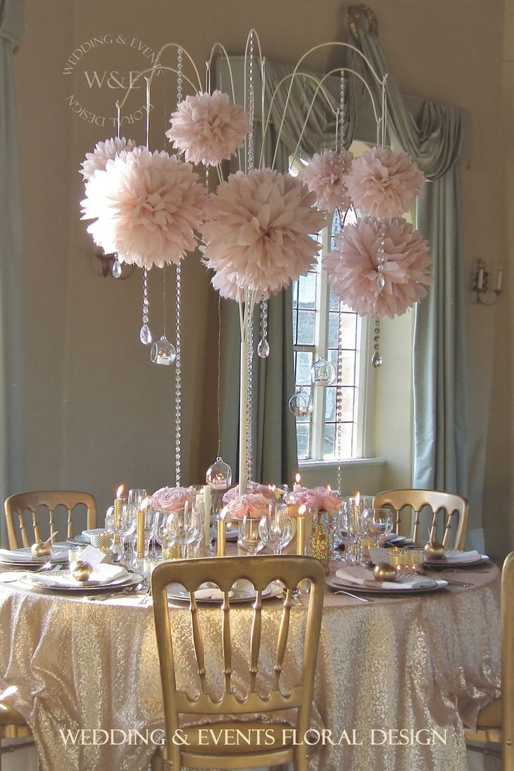 24 inch trumpet vases wholesale of 145 best event inventory images on pinterest wedding tables for beautiful dusky pink pom poms with crystal droplets hang from our fabulous multi arm table centrepieces