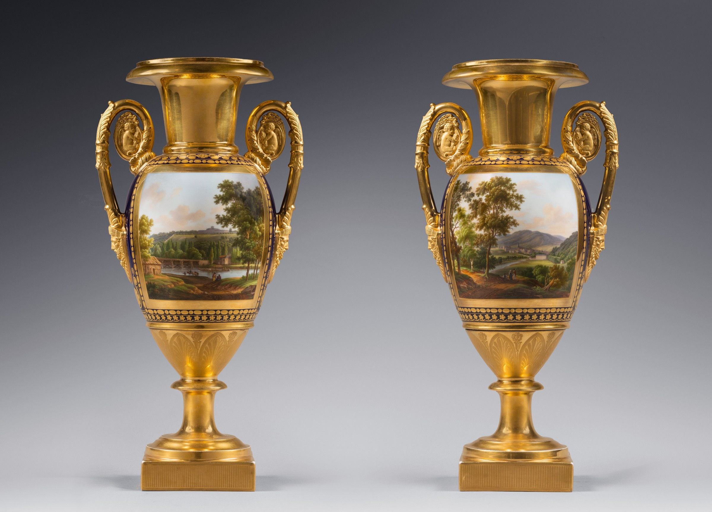 3 Feet Tall Vases Of Nast Fra¨res Manufactory attributed to A Pair Of Restauration Two for A Pair Of Restauration Two Handled Vases Probably by Nast Fra¨res Manufactory