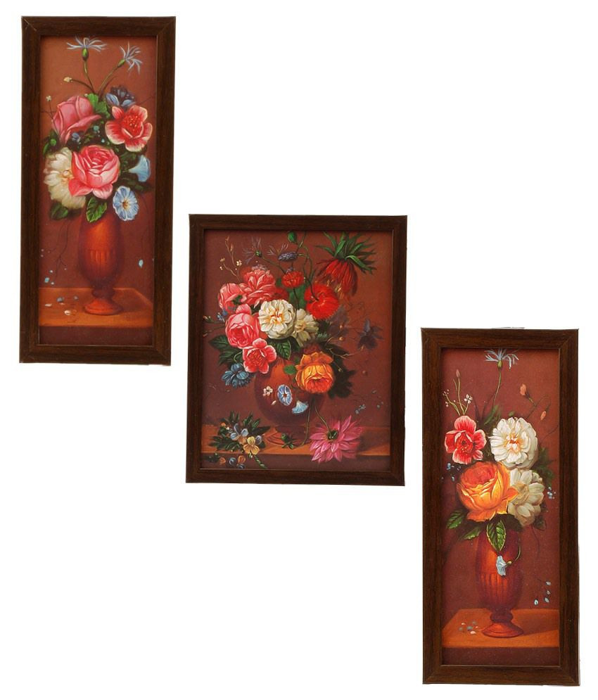 3 foot tall vases of indianara 3 pc set of framed wall hanging pictures small flowers pertaining to indianara 3 pc set of framed wall hanging pictures small flowers in a