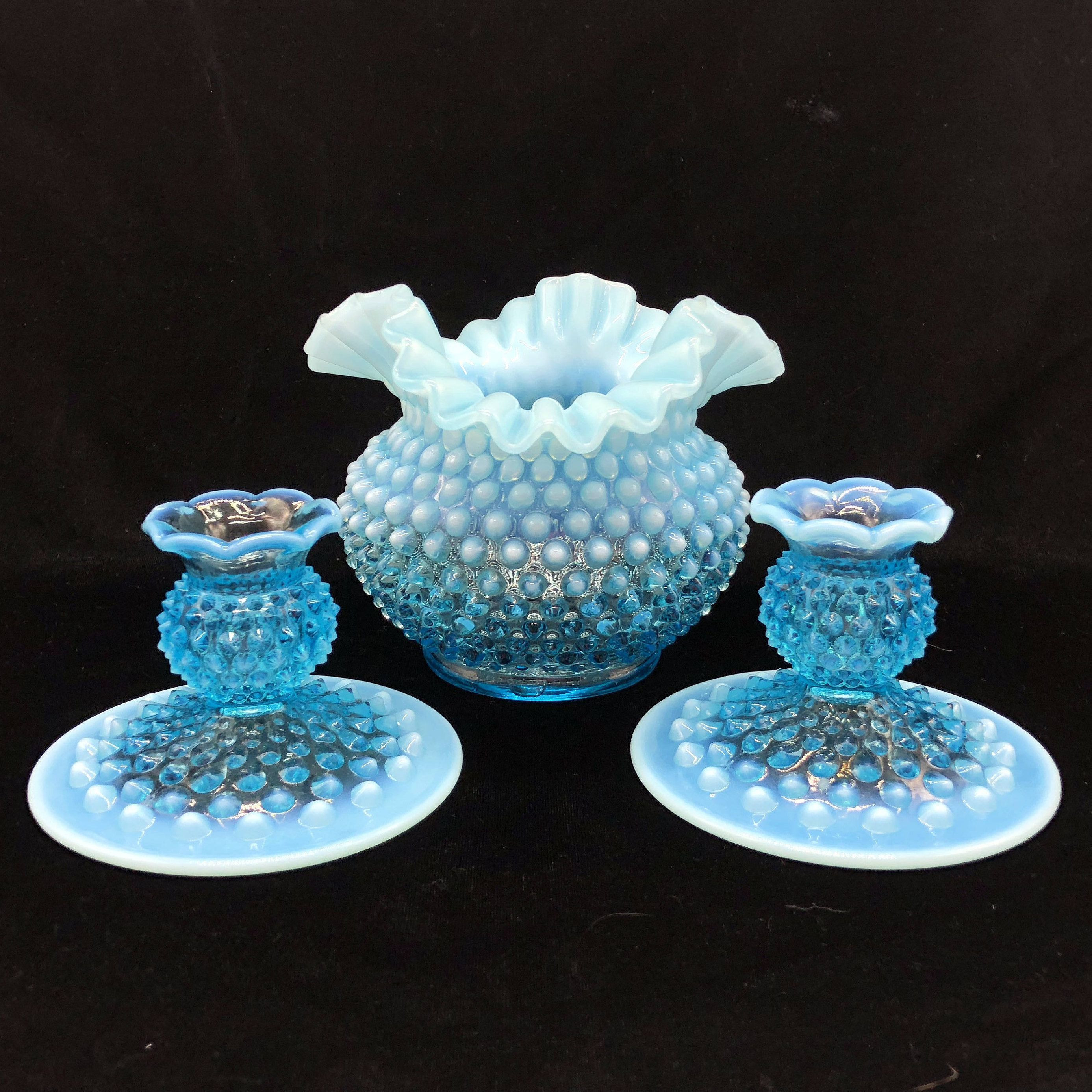 3 piece glass vase set of 37 fenton blue glass vase the weekly world throughout fenton hobnail glass centerpiece set blue opalescent vase candle