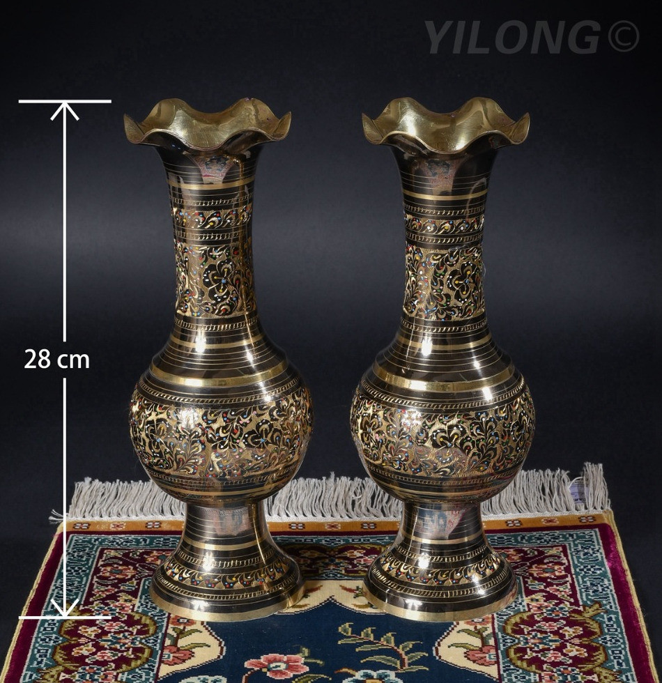 32 inch eiffel tower vases of a——11 inches 28cm height pair 2pcs bronze hand painted pakistan vase for 11 inches 28cm height pair 2pcs bronze hand painted pakistan vase copper brass 001a