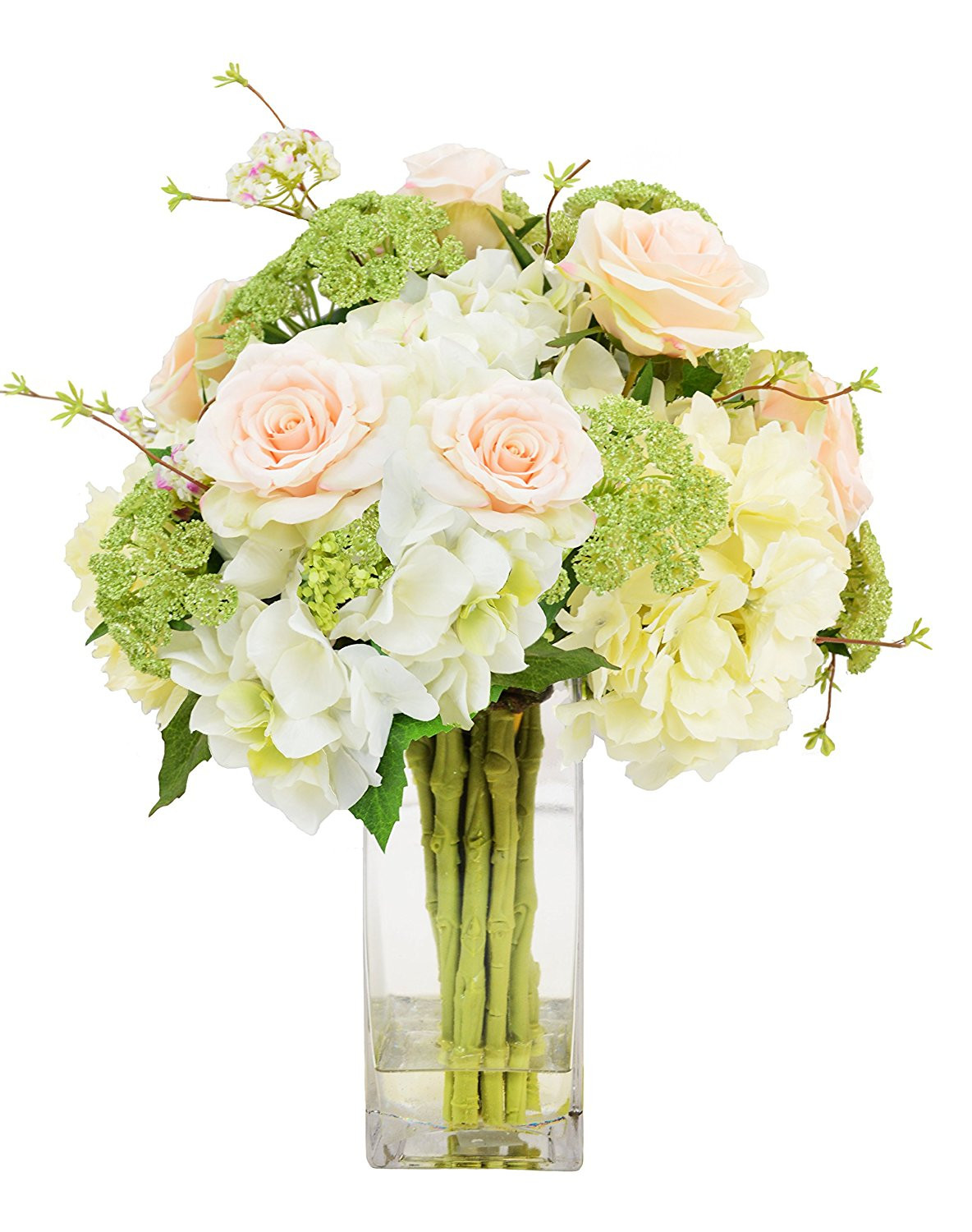 36 inch tall glass vase of cheap tall square water glass cups find tall square water glass within get quotations a· creative displays cream hydrangeas green queen anns lace soft peach roses green budding