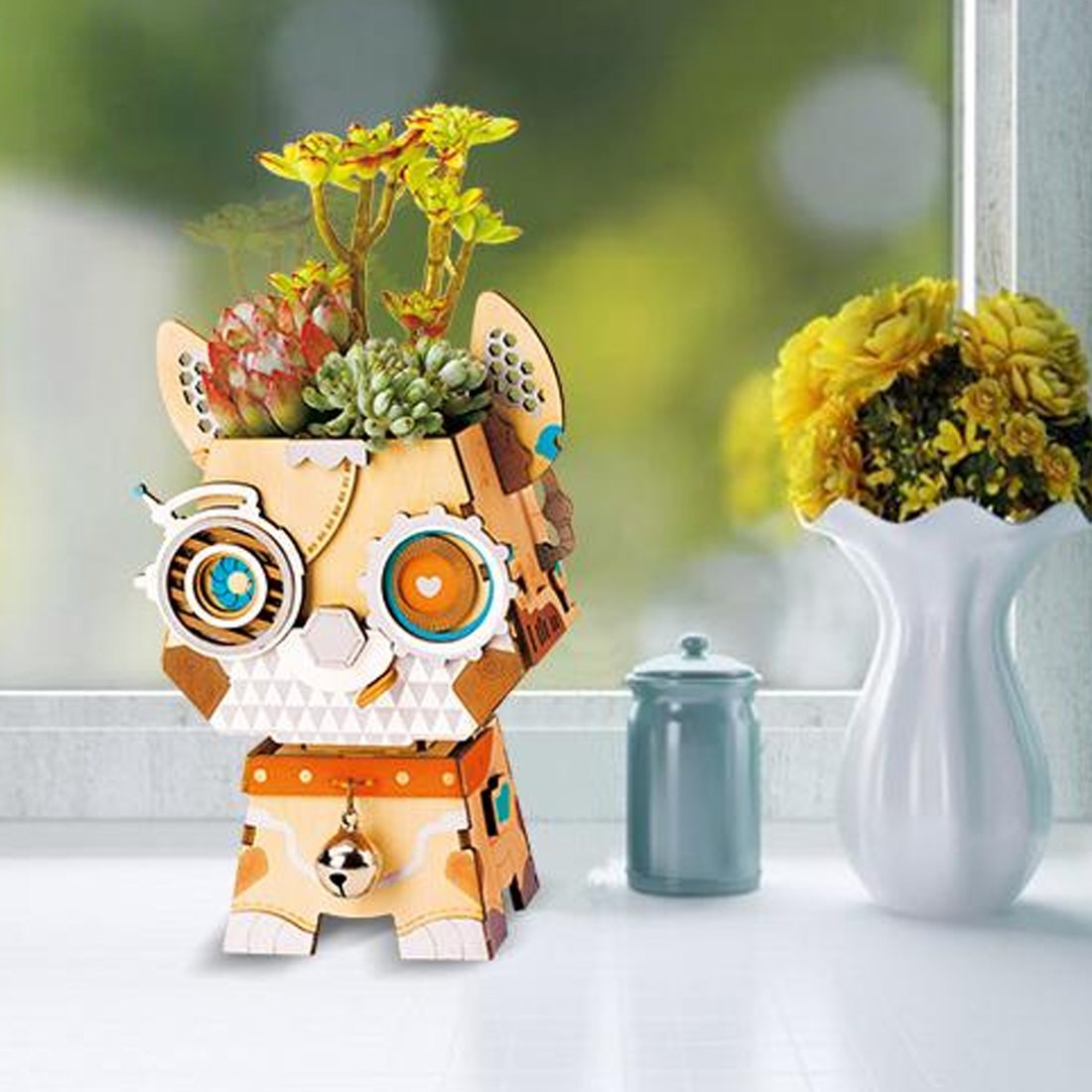 3d puzzle vase of nfstrike cartoon cute dog robot flower pot 3d wooden puzzles toys with nfstrike cartoon cute dog robot flower pot 3d wooden puzzles toys kids model building kits pen container for desk decor pomotion in model building kits from