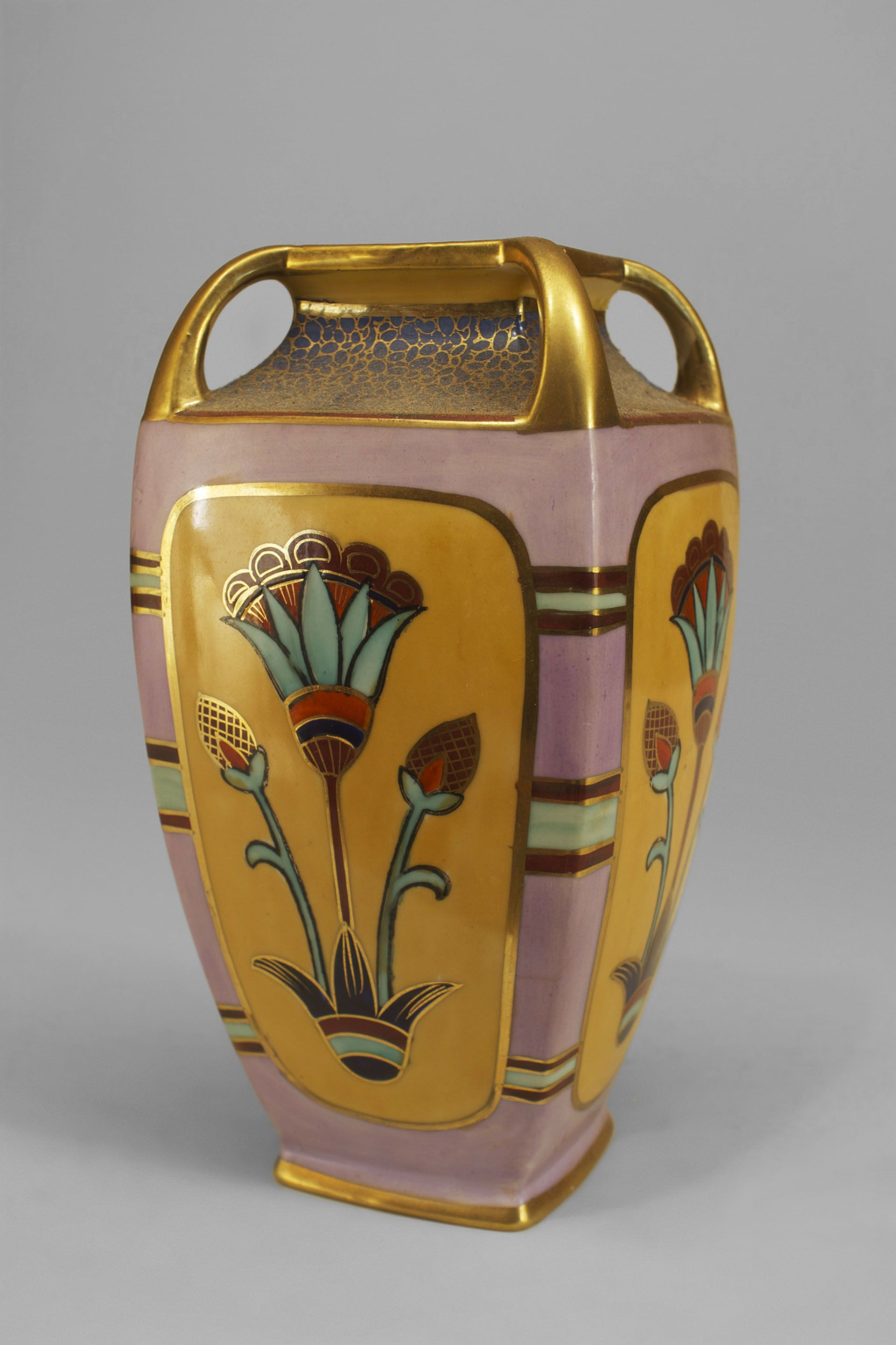 4 square glass vase of art deco pink beige and gilt trimmed square tapered vase with for art deco pink beige and gilt trimmed square tapered vase with egyptian floral motifs and 4 open handles at top signed noritake made in japan