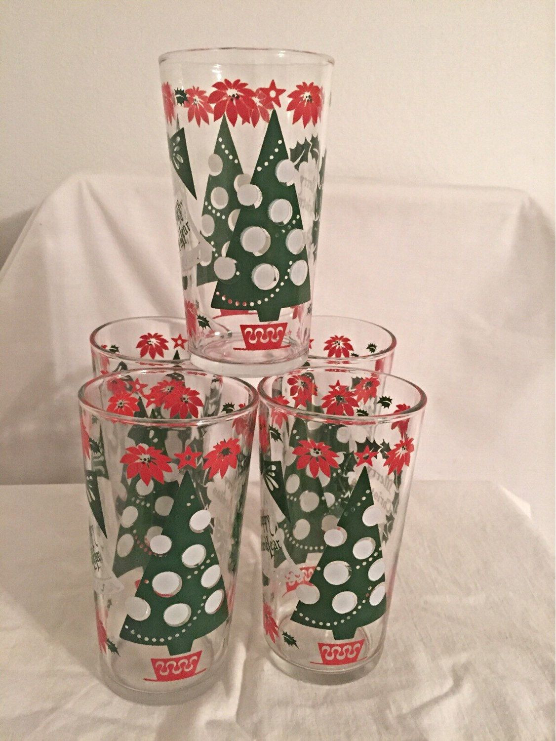 5 glass cylinder vase of vintage christmas glasses holiday new years glasses retro red and in vintage christmas glasses holiday new years glasses retro red and green set of 5 by