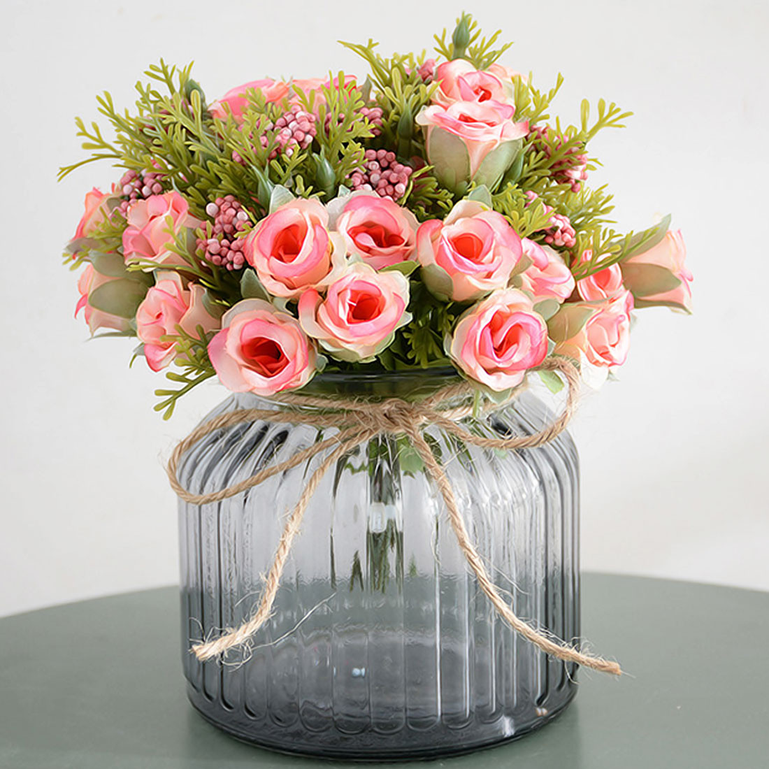 6 Inch Bud Vase Of Small Bud Silk Roses Simulation Flowers Artificial Flowers 13 Heads for total Width20cm 1cm0 4 Inch