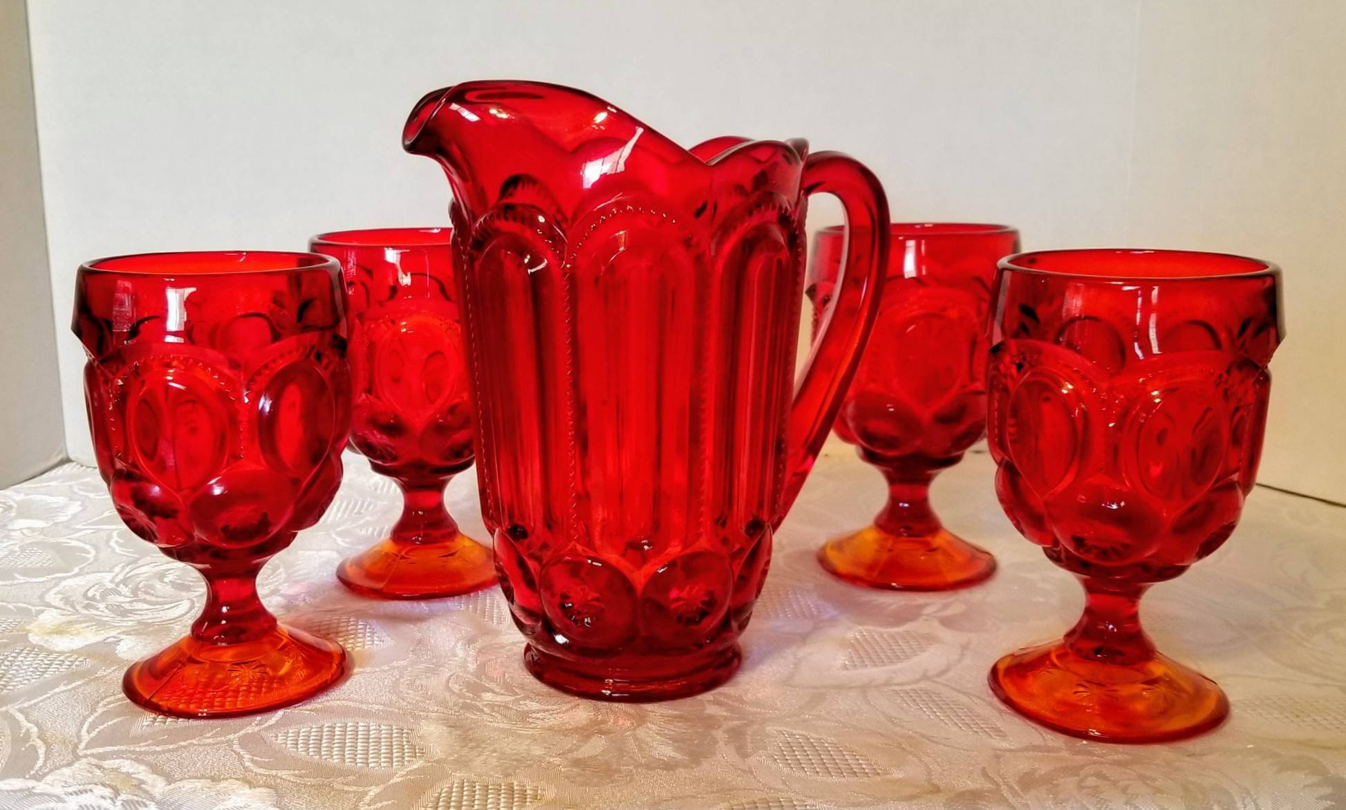 "6 inch round glass vase of l e smith ruby red amberina moon and stars 32oz pitcher and etsy with dŸ""Žzoom"
