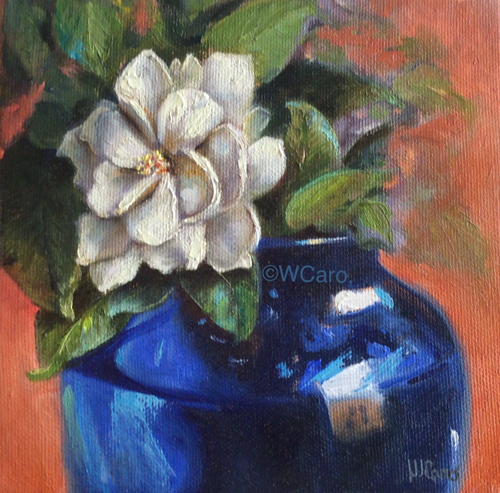 6x6 glass vase of gardenia in a blue glass vase 6x6 original oil painting on canvas throughout gardenia in a blue glass vase 6x6 original oil painting on canvas až