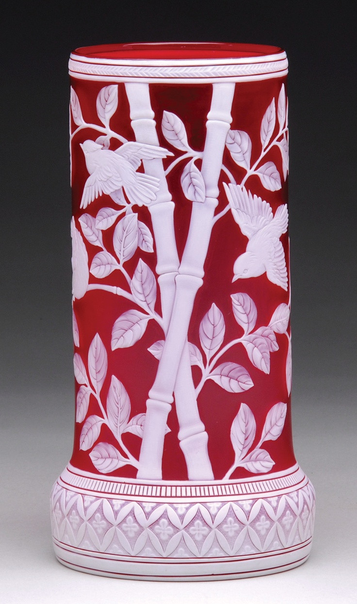 9 inch cylinder vase of 47 best thomas webb images by jennifer skok calvintagedesigns for a webb cylindrical vase frosted crimson red with intricate white overlay bamboo shoots and