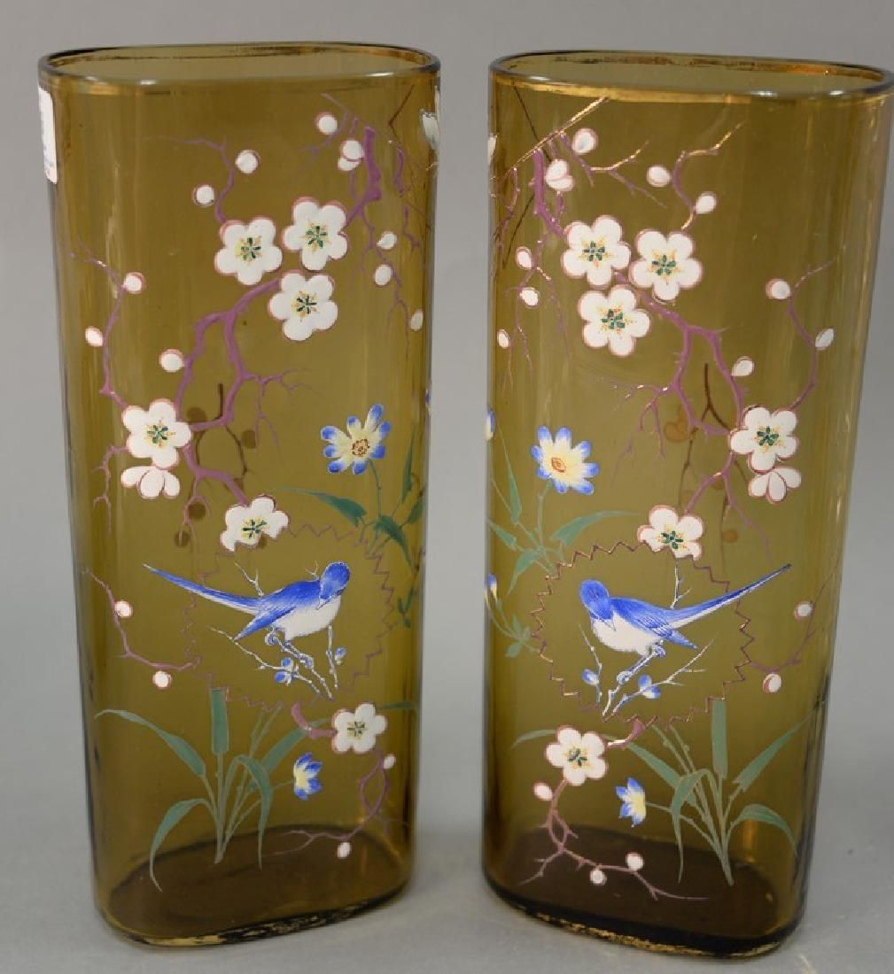 9 inch cylinder vase of pair of moser amber art glass enameled vases moser glass czech intended for glass