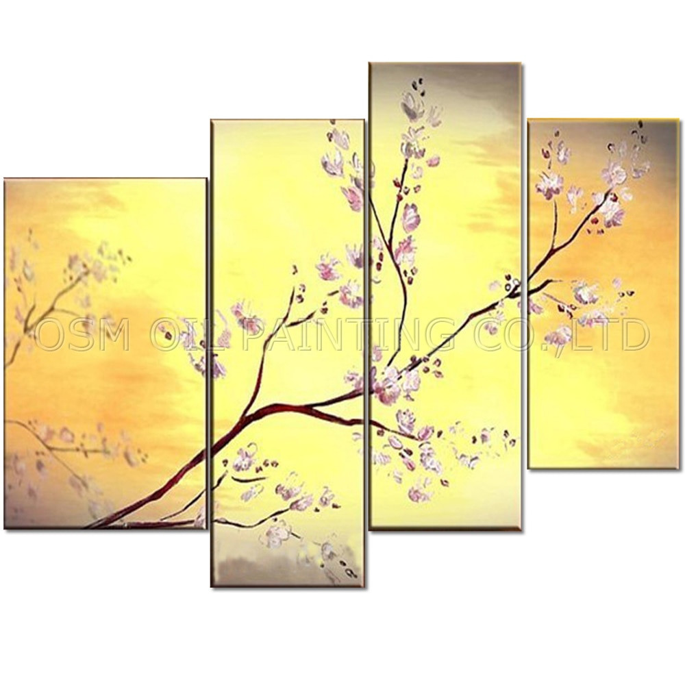 A Vase Of Flowers by Paul Gauguin Of China Artist Handmade Golden Colors Abstract Flower Plum Blossom Oil Regarding China Artist Handmade Golden Colors Abstract Flower Plum Blossom Oil Painting On Canvas Beautiful Wintersweet Flower Painting In Painting Calligraphy From