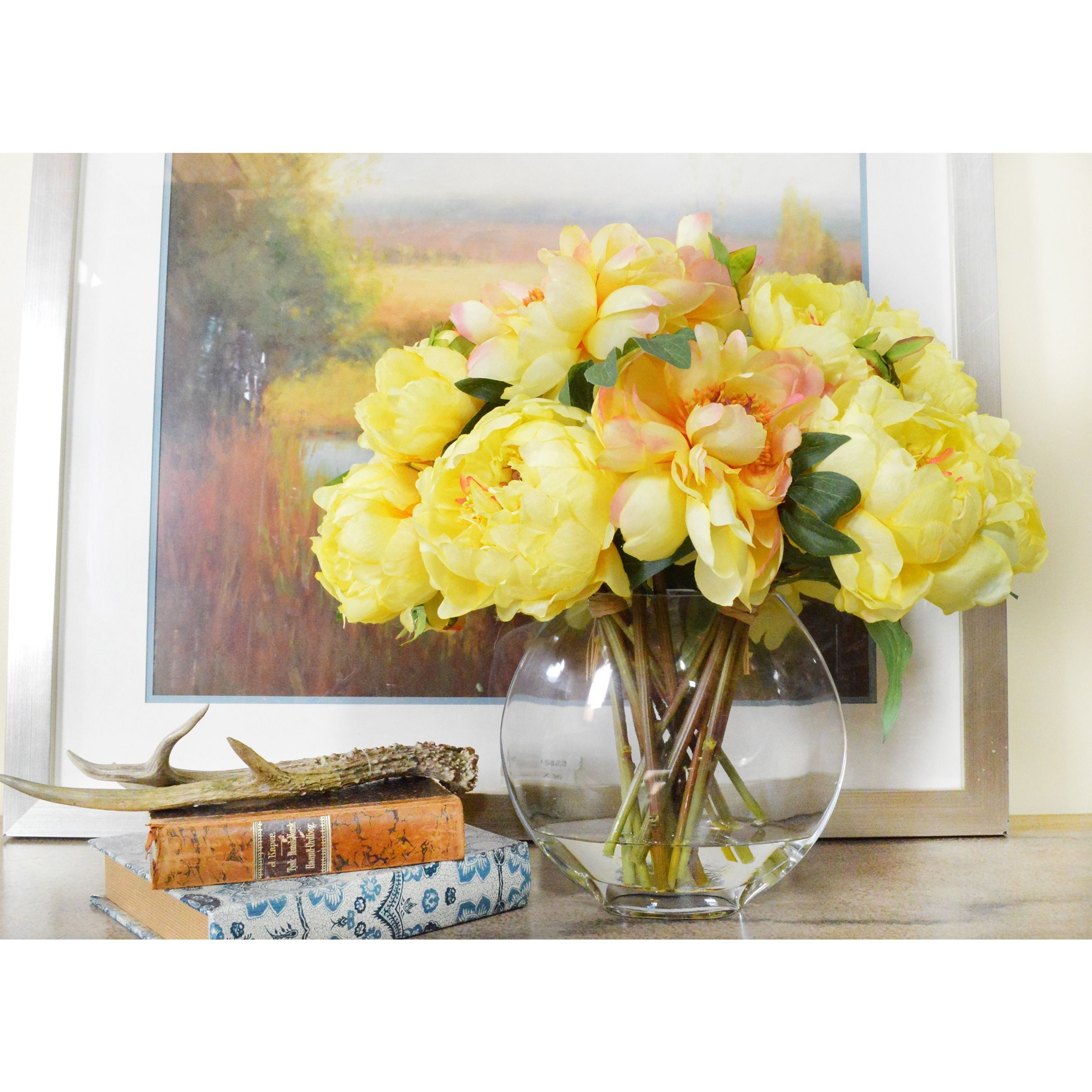 acrylic cylinder vase of creative displays bouquet of yellow peonies in a round acrylic pertaining to creative displays bouquet of yellow peonies in a round acrylic water filled glass vase 22 w x 20 h x 19 l