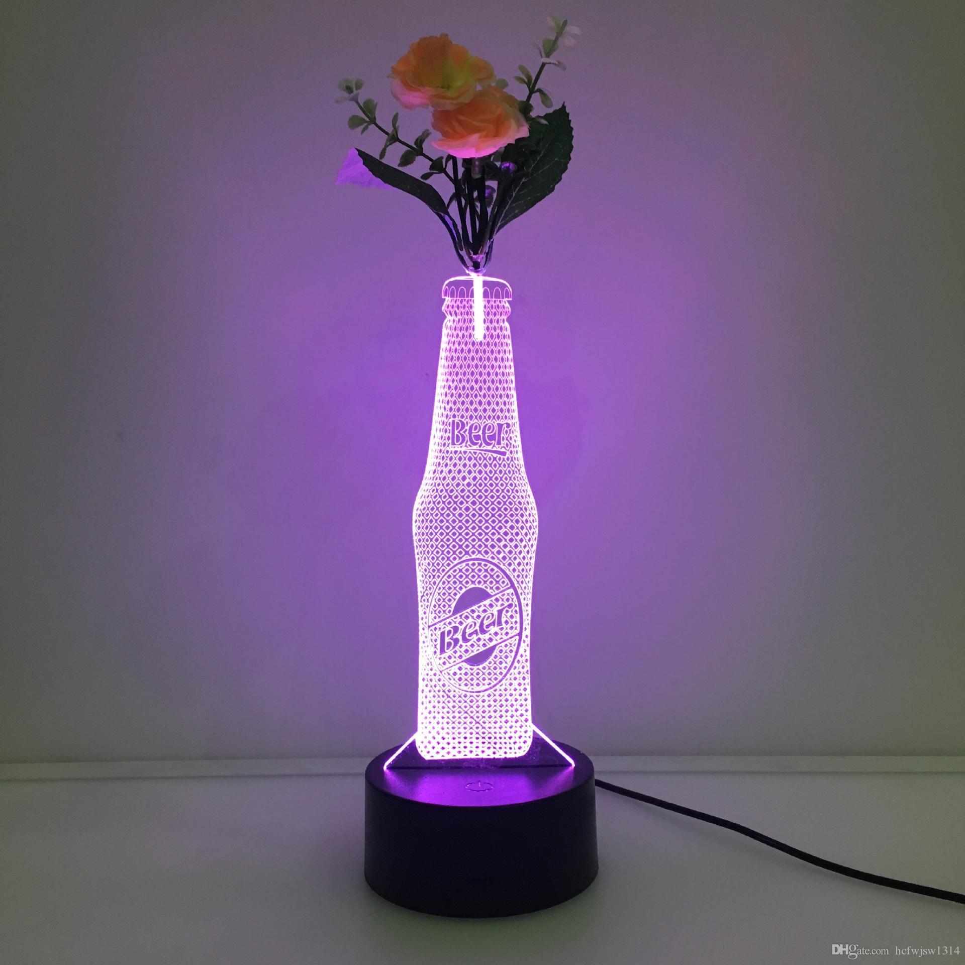 acrylic rectangle vase of new wine bottle led vase stereo light colorful acrylic 3d night inside new wine bottle led vase stereo light colorful acrylic 3d night light gift table lamp