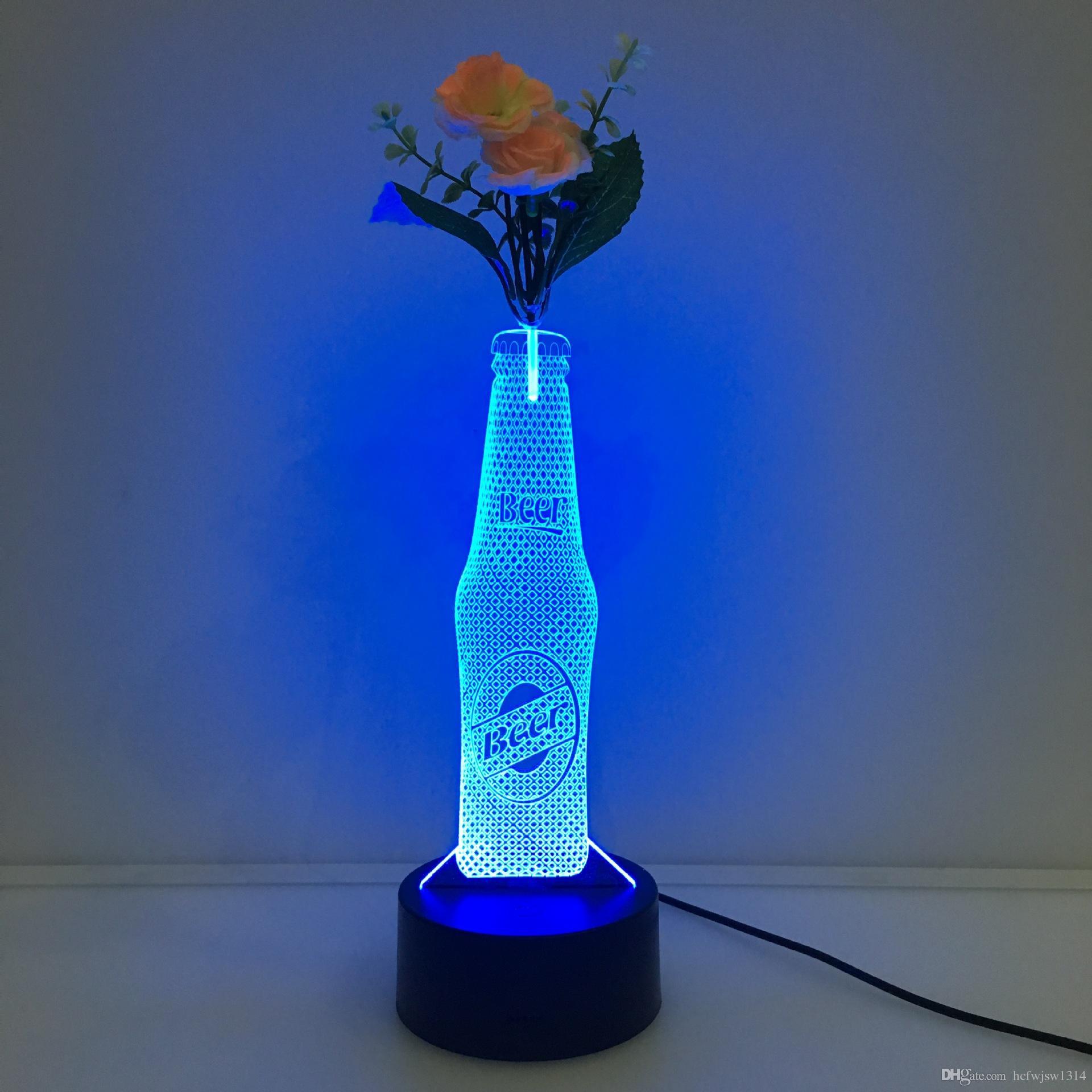 acrylic rectangle vase of new wine bottle led vase stereo light colorful acrylic 3d night intended for new wine bottle led vase stereo light colorful acrylic 3d night light gift table lamp