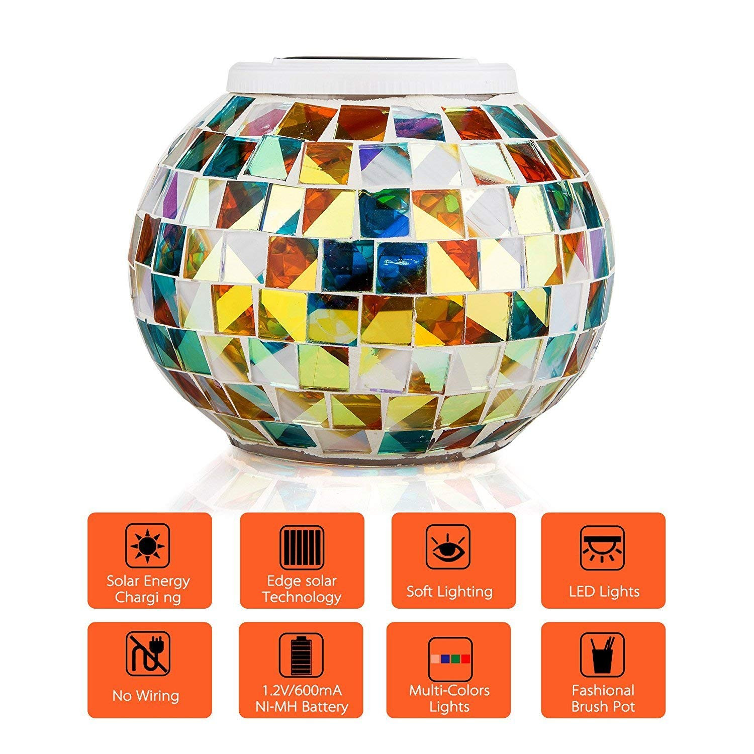 amber crackle glass vase of solar powered mosaic glass merrynine solar table lamp color within solar powered mosaic glass merrynine solar table lamp color changing glass led rechargeable solar night lamp waterproof solar outdoor lights for home