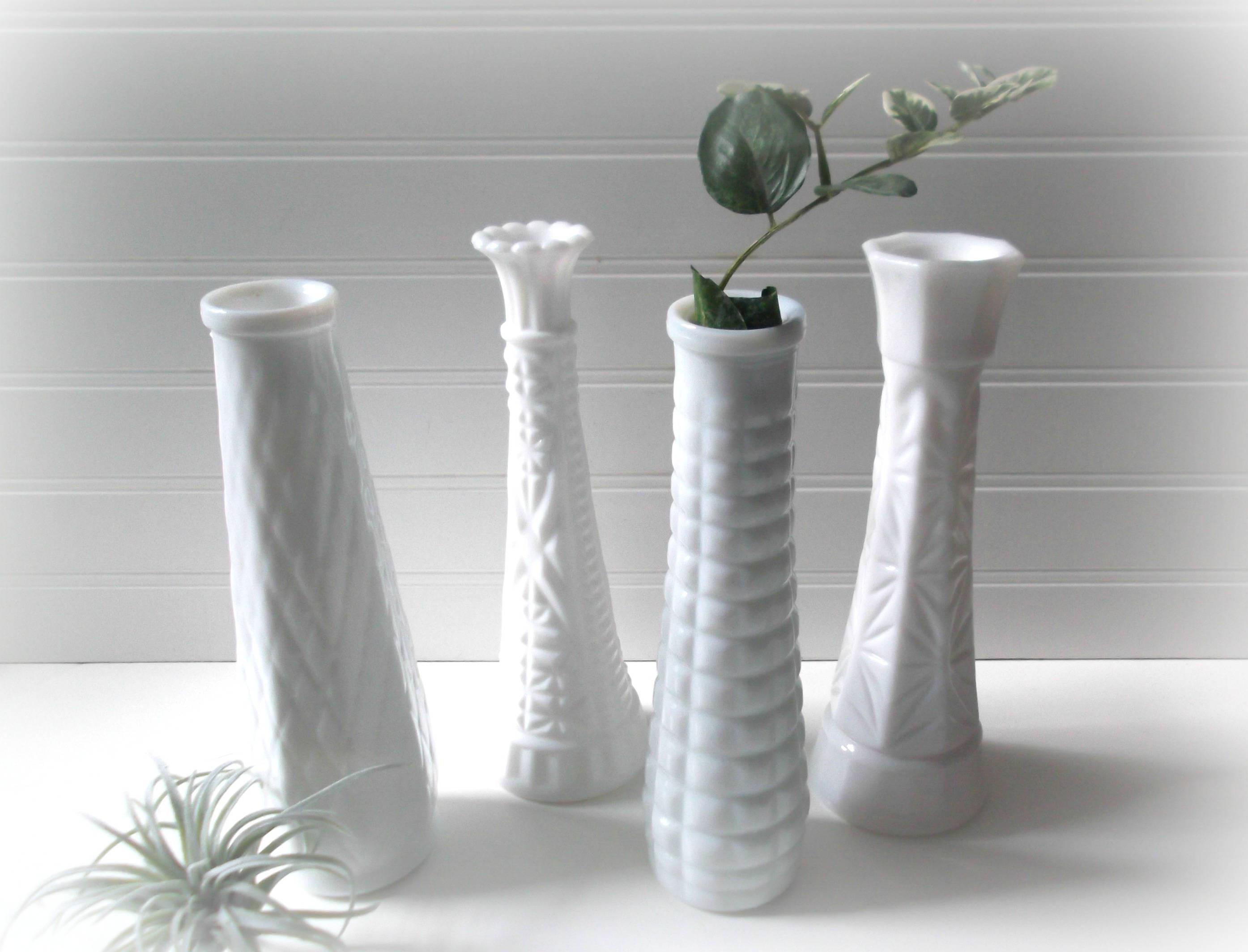 Anchor Hocking Bud Vase Of Milk Glass Bud Vases Set Of 4 Vases for Wedding Vintage Etsy Inside Image 0