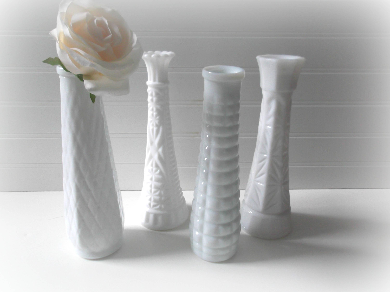 Anchor Hocking Bud Vase Of Milk Glass Bud Vases Set Of 4 Vases for Wedding Vintage Etsy with Regard to Image 5 Image 6