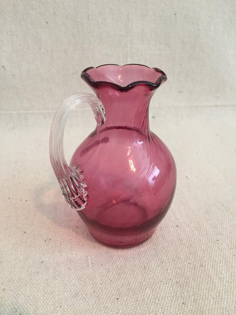anchor hocking bud vase of vintage clear handled cranberry pinkart glass swirl pitcher vase intended for vintage clear handled cranberry pinkart glass swirl pitcher vase 1 of 1only 1 available see more