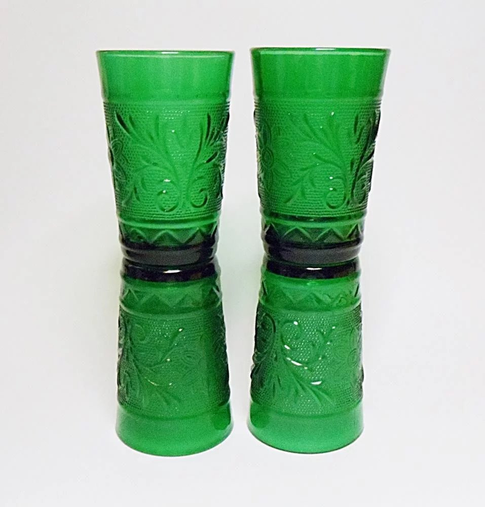anchor hocking glass vases of vintage anchor hocking forest green sandwich juice tumblers tamis regarding click to expand