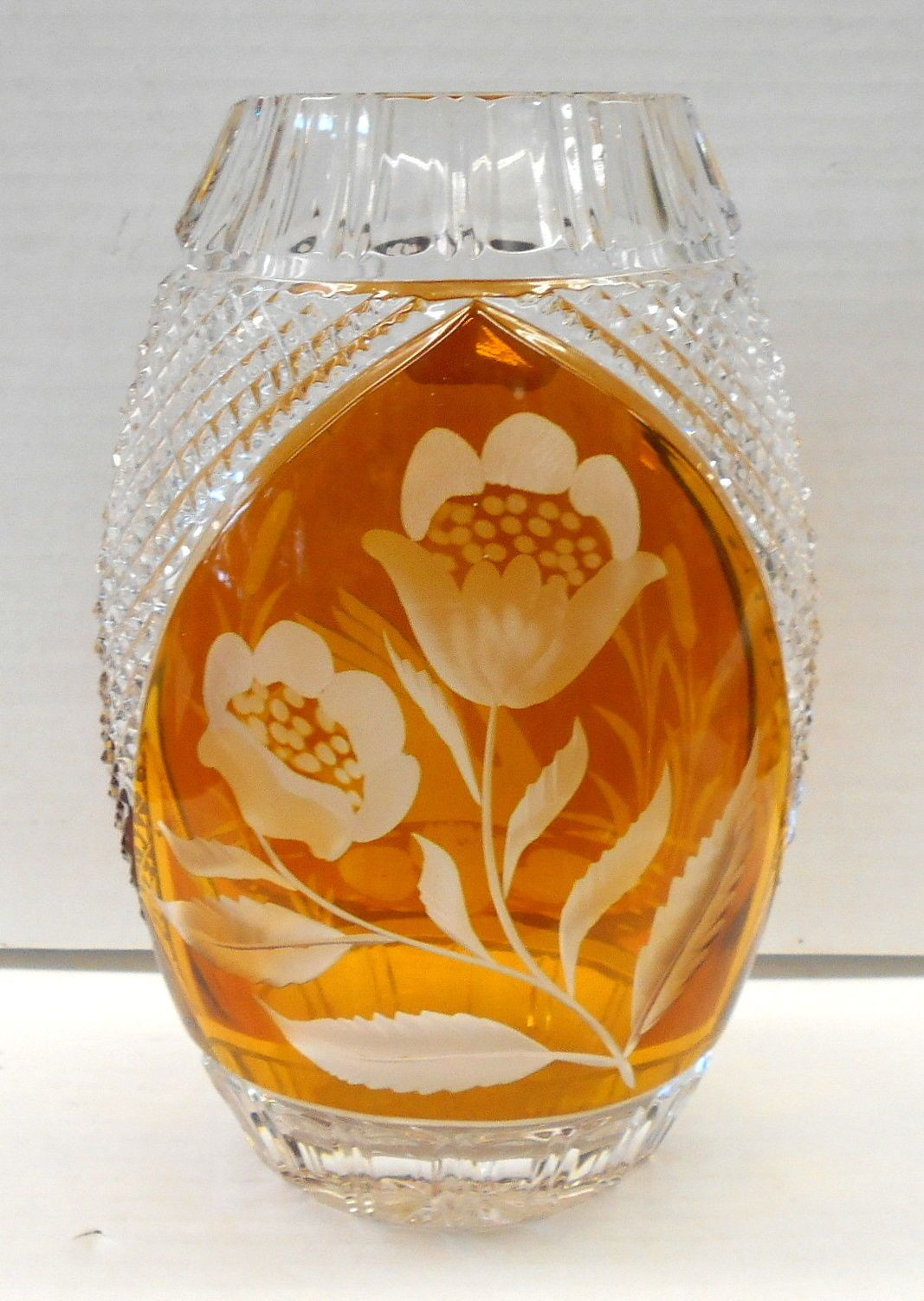 anna hutte bleikristall lead crystal vase of vintage julia wheel cut lead crystal vase swan and floral made in with regard to vintage julia wheel cut lead crystal vase swan and floral made in poland ebay