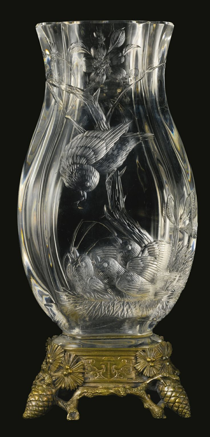 antique baccarat vase of 45 best baccarat images on pinterest vintage perfume bottles throughout cristallerie de baccarat a japonisme silvered bronze mounted cut crystal vase france late century the front decorated with a bird feeding its nestlings