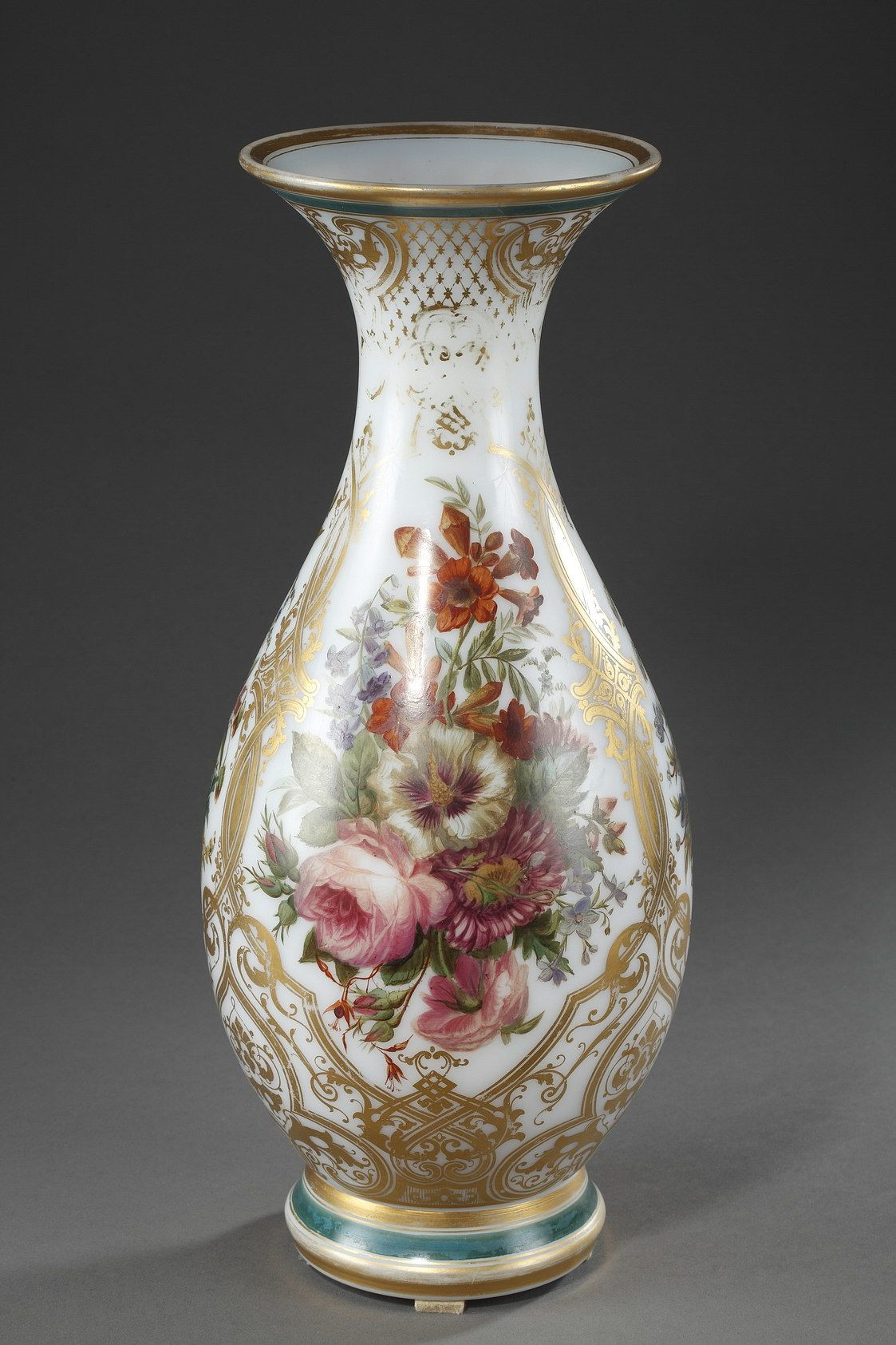 antique baccarat vase of vase en opaline amaillae dapoque louis philippe pinterest with regard to a baluster shape vase in white enamelled opaline with polychromatic decoration composed of bunches of