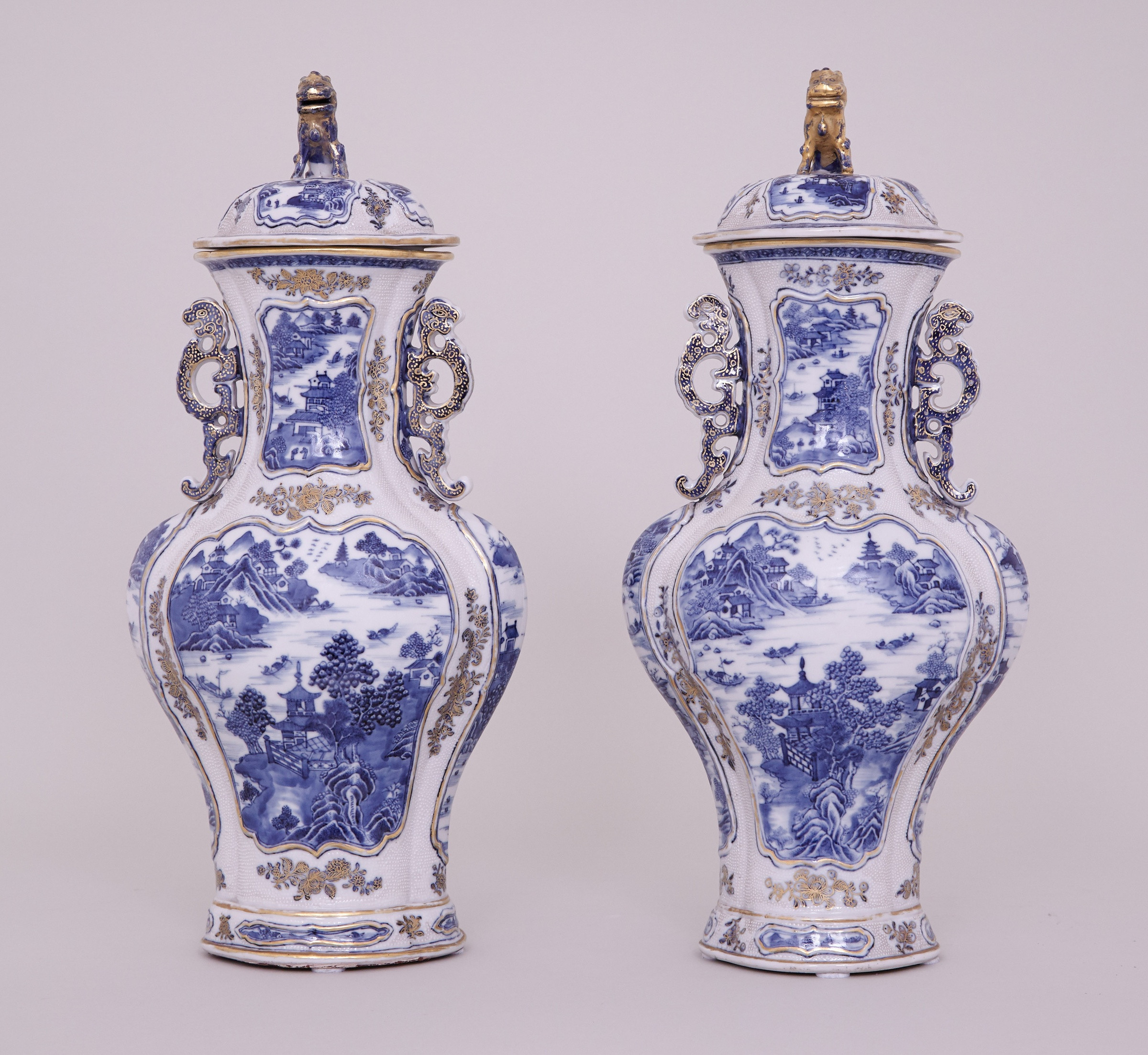 antique blue vase of a pair of chinese blue and white nankin vases and covers qianlong with a pair of chinese blue and white nankin vases and covers