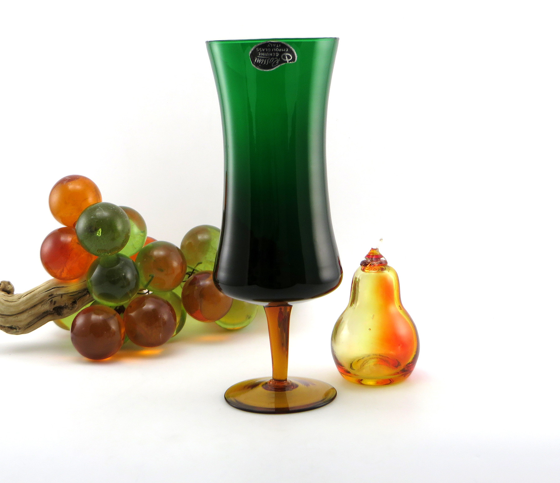 Antique Bohemian Glass Vase Of Rossini Empoli Art Glass Retro Modern Vase with Label Retro Art Glass Throughout Rossini Empoli Art Glass Retro Modern Vase with Label