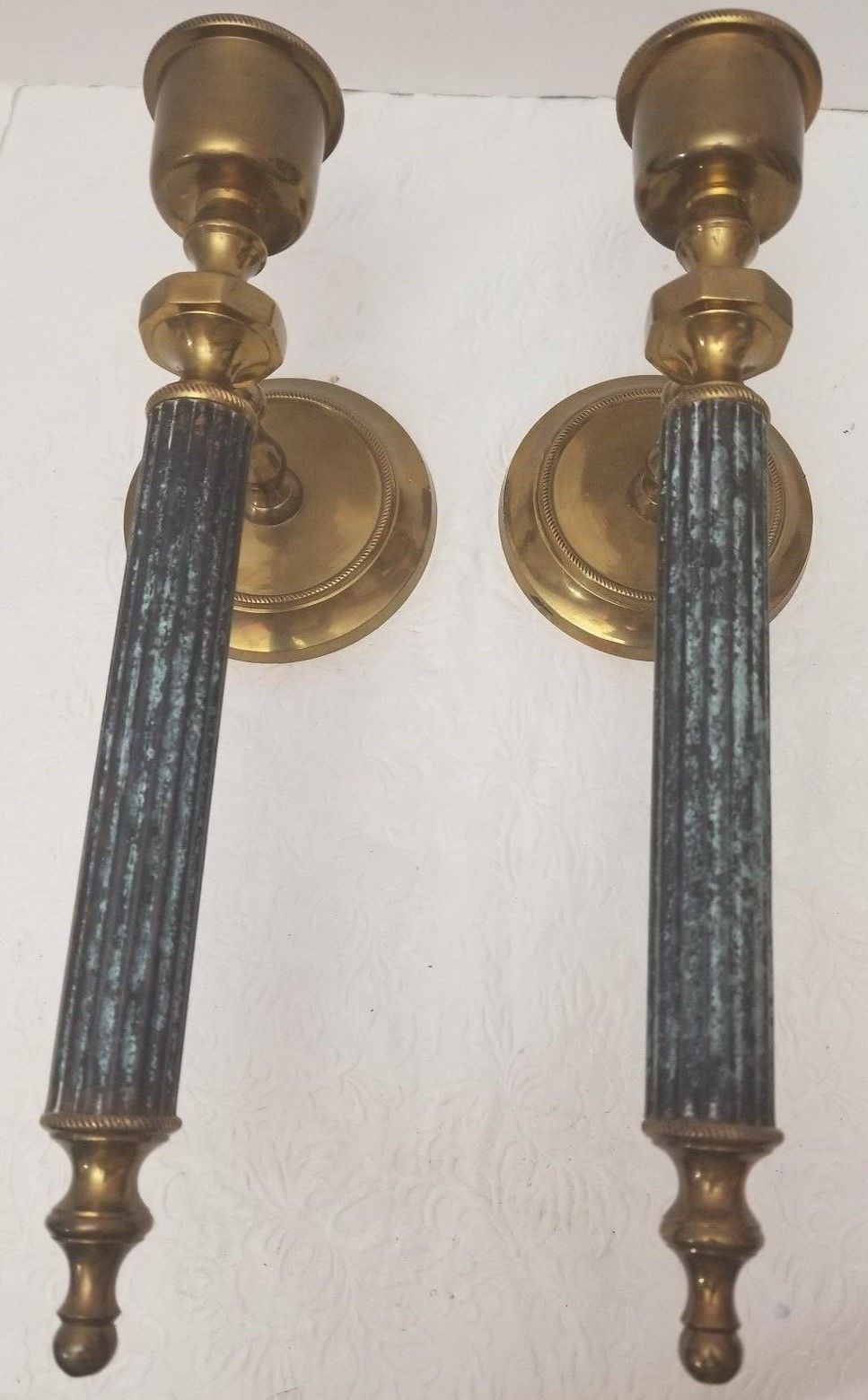 antique brass vases from india of 2 vintage pair of brass blue wall candle and 50 similar items inside 2 vintage pair of brass blue wall candle holders sconces 12 made in india home