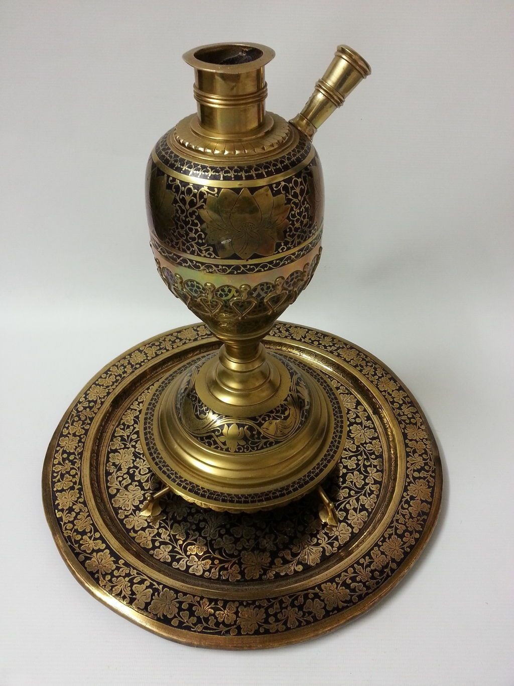 Antique Brass Vases From India Of Very Decorative Large Persian islamic Indian Brass Hookah Base and Pertaining to Very Decorative Large Persian islamic Indian Brass Hookah Base and Tray Set Ebay Ottomans