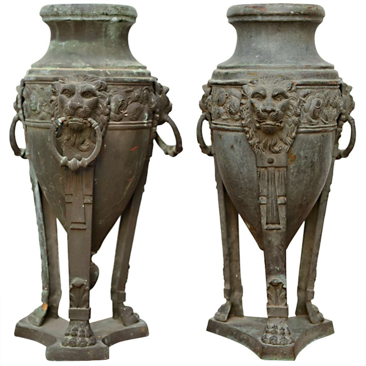 antique bronze vases and urns of pair of english patinated bronze athenienne form urns 19th century throughout pair of english patinated bronze athenienne form urns 19th century