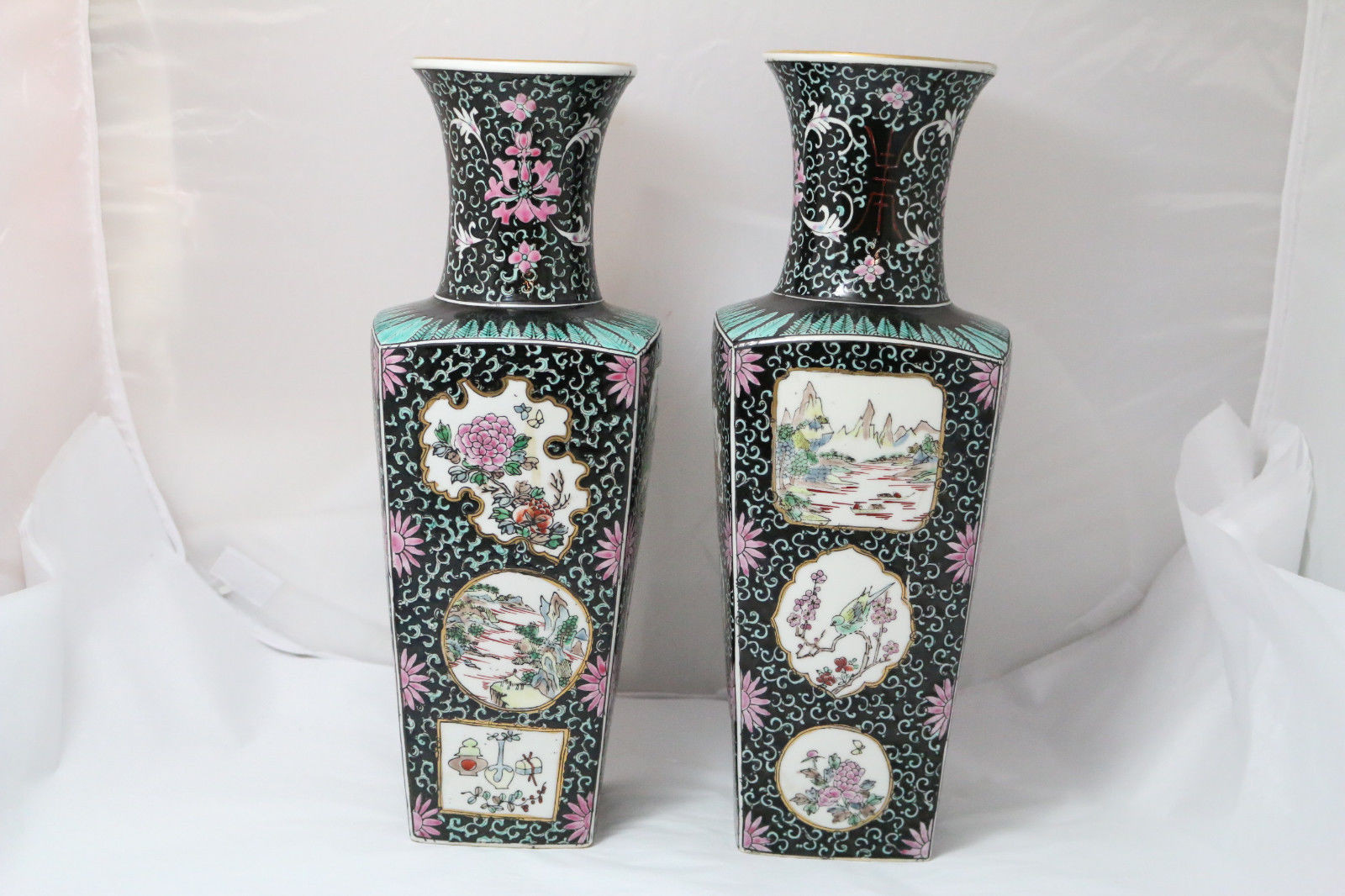 Antique Chinese Porcelain Vases Of Vintage Chinese oriental Square Base Vases W asian Motifs 50 00 Regarding Vintage Chinese oriental Square Base Vases W asian Motifs 1 Of 8only 1 Available