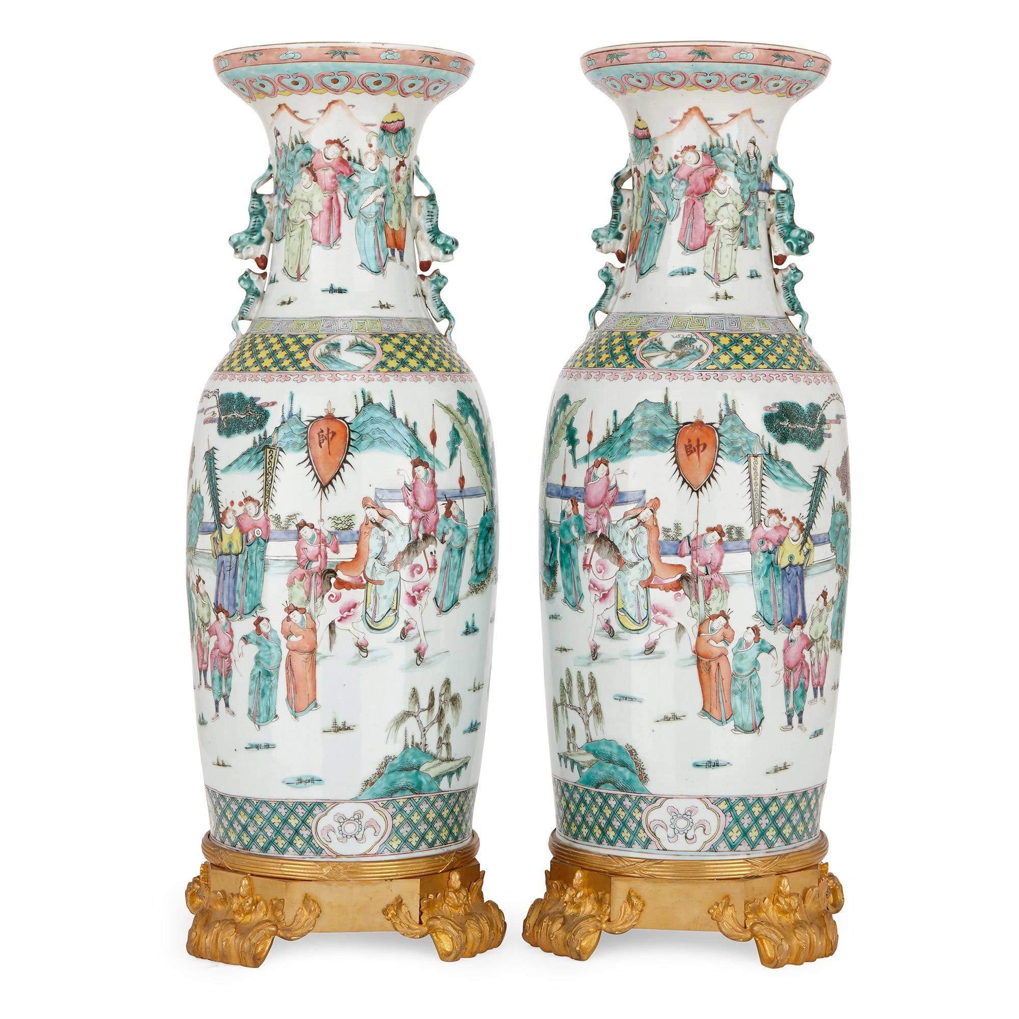 antique chinese pottery vases of pair of chinese antique canton famille rose porcelain vases for sale for pair of chinese antique canton famille rose porcelain vases for sale at 1stdibs
