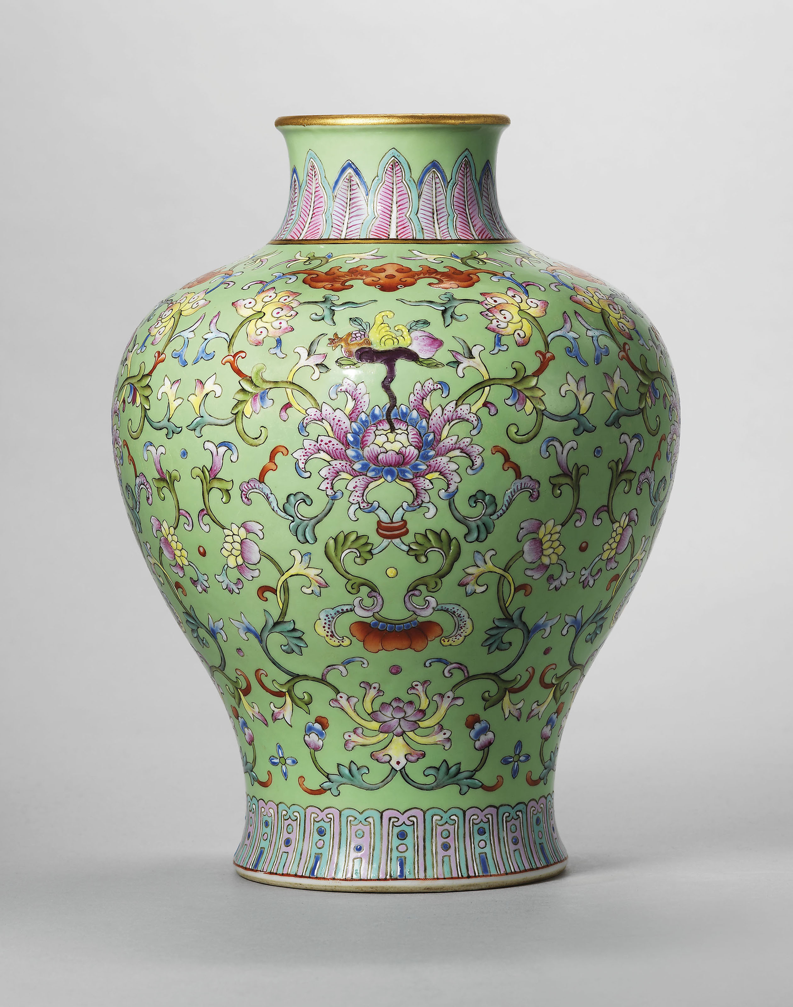 antique chinese vases for sale of a guide to the symbolism of flowers on chinese ceramics christies for a lime green ground famille rose vase meiping qianlong six character seal