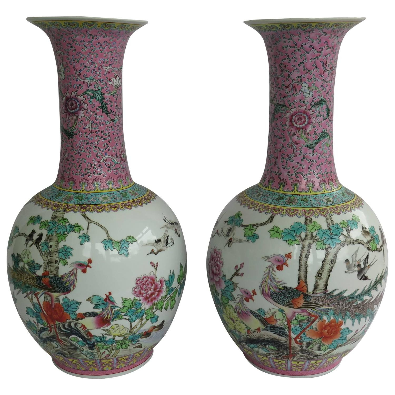 antique chinese vases for sale of pair of chinese antique canton famille rose porcelain vases for sale intended for pair of chinese antique canton famille rose porcelain vases for sale at 1stdibs