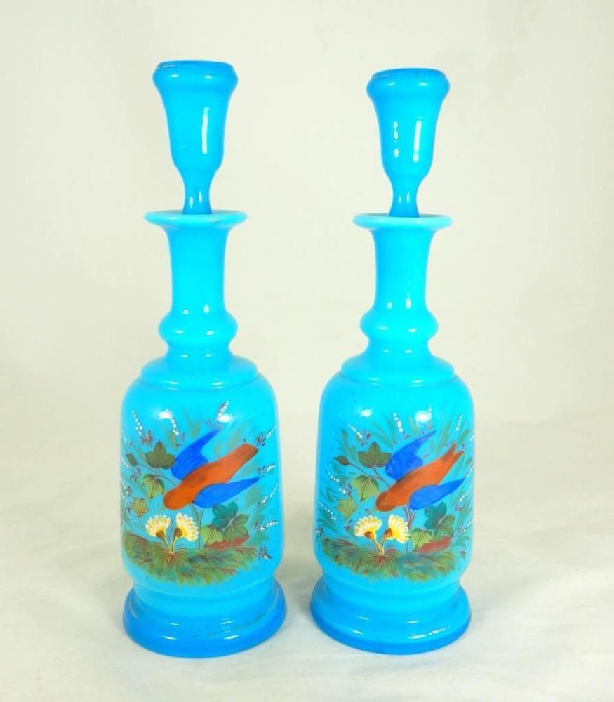 Antique Colored Glass Vases Of Antique 19thc French Blue Opaline Milk Glass Pair Handpainted with Regard to Antique 19thc French Blue Opaline Milk Glass Pair Handpainted Perfume Bottles