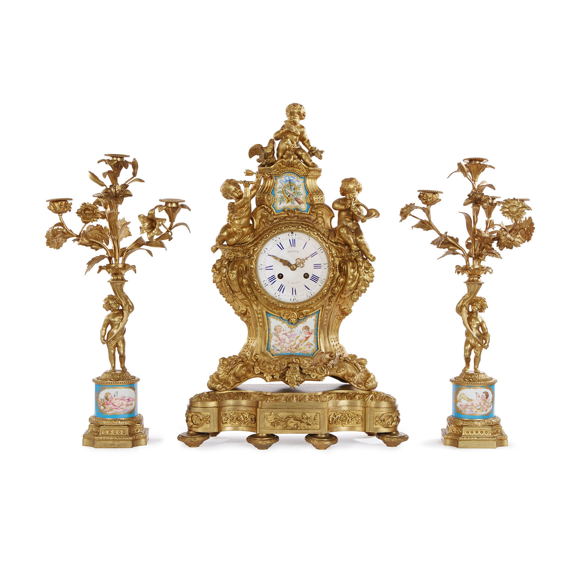 antique french porcelain vases of sa¨vres style porcelain mounted ormolu clock set by picard 19th regarding sa¨vres style porcelain mounted ormolu clock set by picard