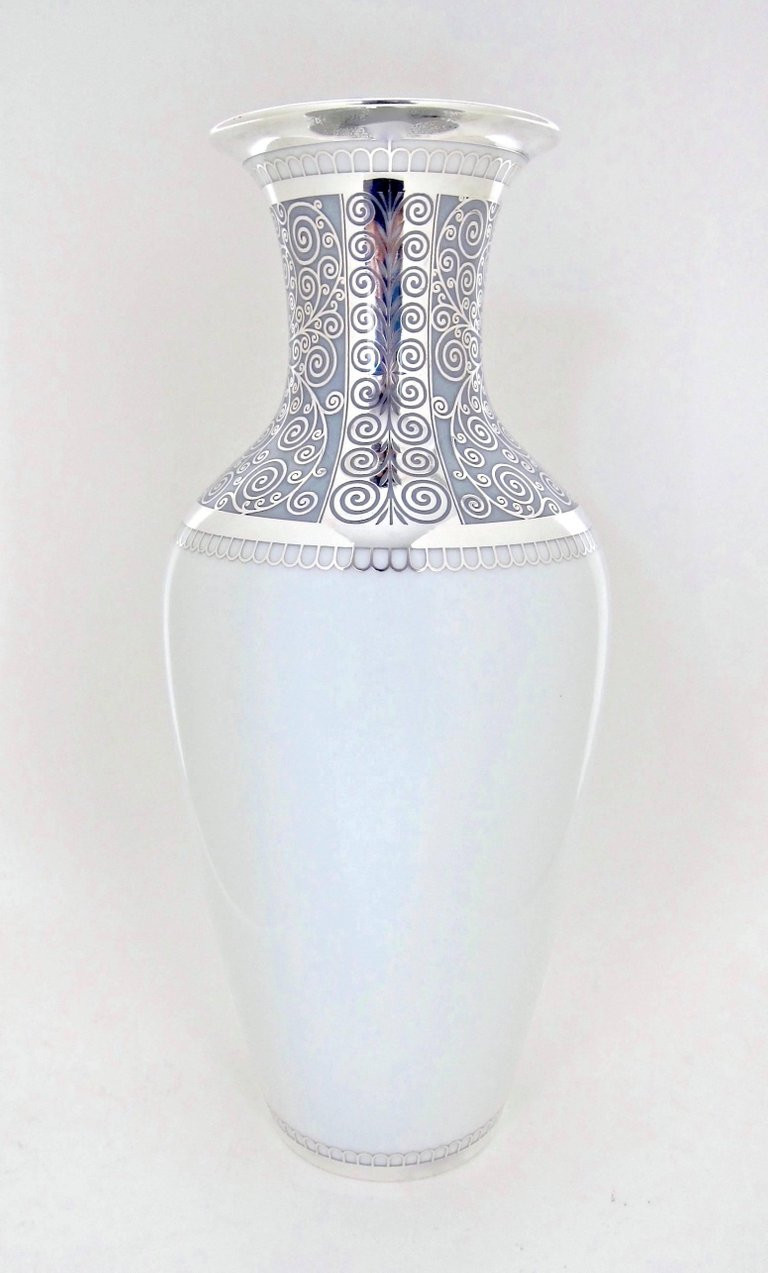 Antique German Porcelain Vases Of Large Rosenthal Porcelain Silver Overlay Vase at 1stdibs Intended for German Large Rosenthal Porcelain Silver Overlay Vase for Sale