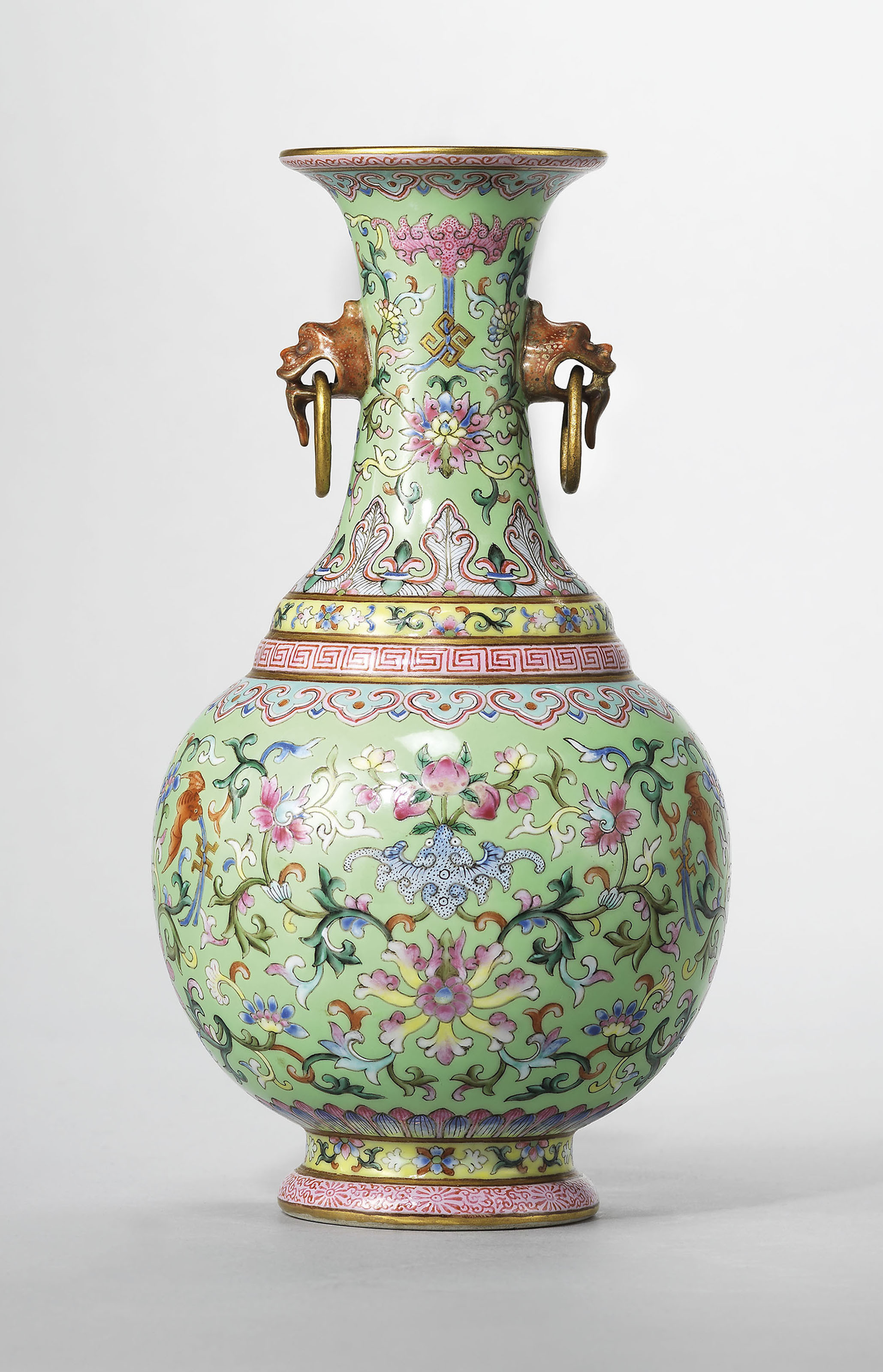 antique green glass vases of a guide to the symbolism of flowers on chinese ceramics christies regarding a lime green ground famille rose twin handled vase jiaqing six character