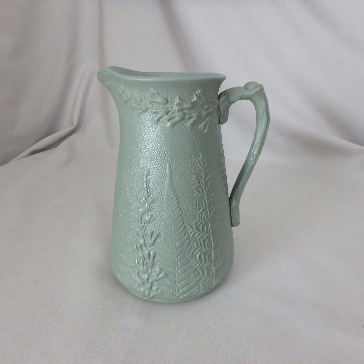 Antique Green Pottery Vase Of Antique 19th C W Ridgway Co Green Salt Glaze Fern Foxglove Pertaining to Click to Expand