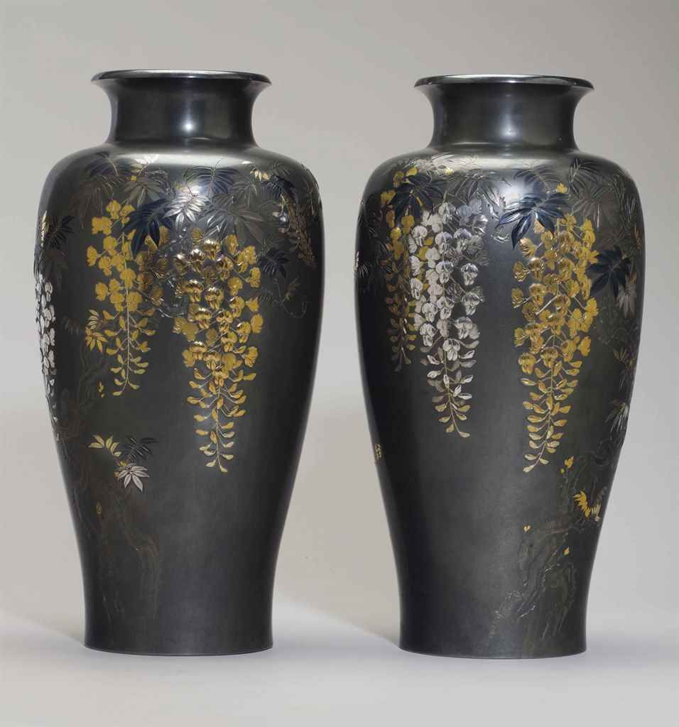 antique japanese bronze vase of a monumental pair of soft metal inlaid shibuichi vases taisho with a monumental pair of soft metal inlaid shibuichi vases taisho period dated