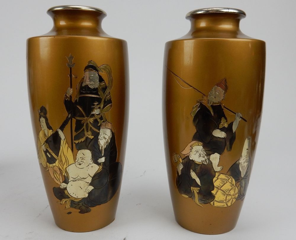 antique japanese bronze vase of details about pair of antique gilt bronze japanese vases with with pair of antique gilt bronze japanese vases with immortal figures signed 8 5 japanese